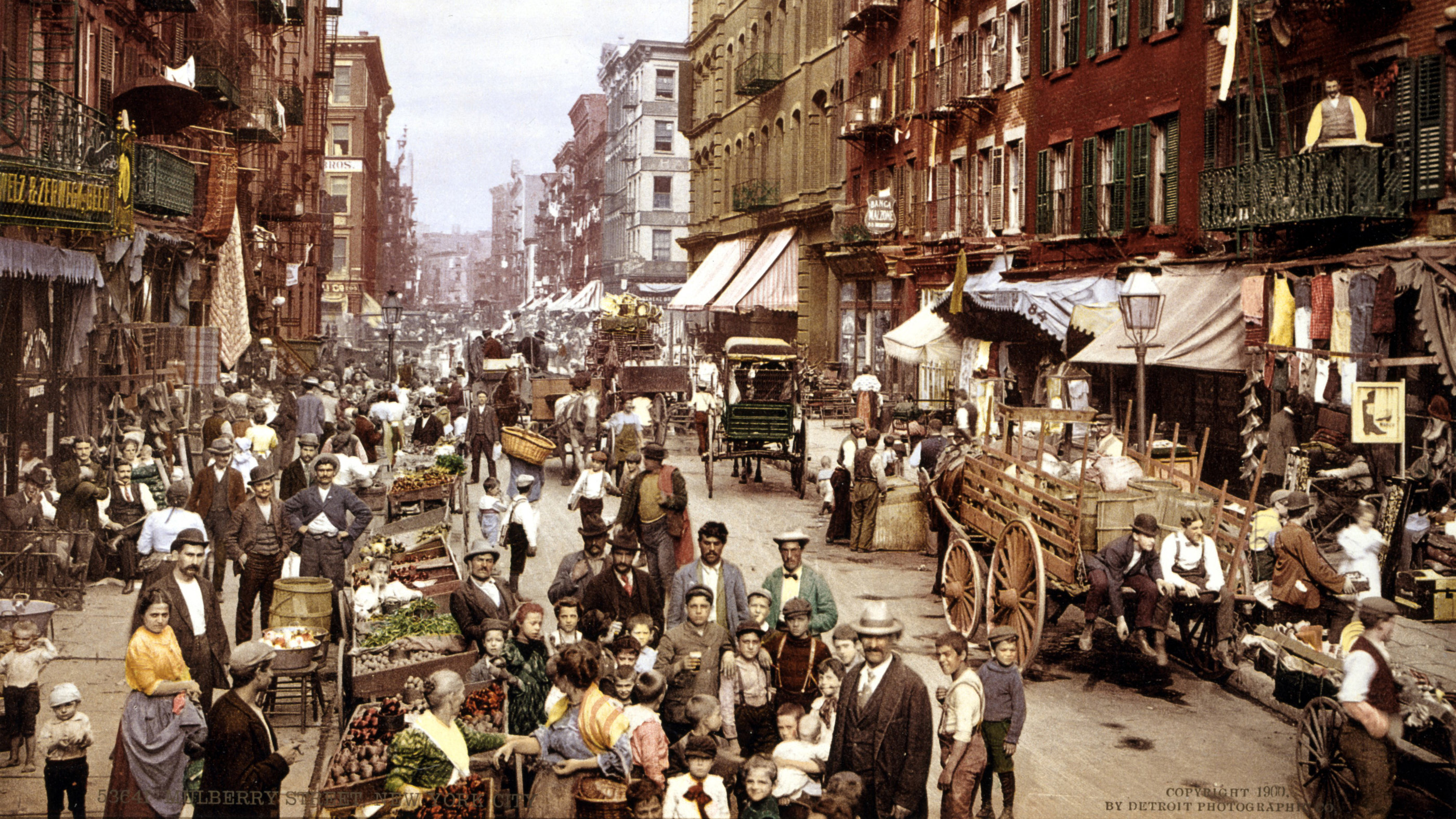 New York City's 'Little Italy'. Mulberry Street, Lower East Side, circa 1900