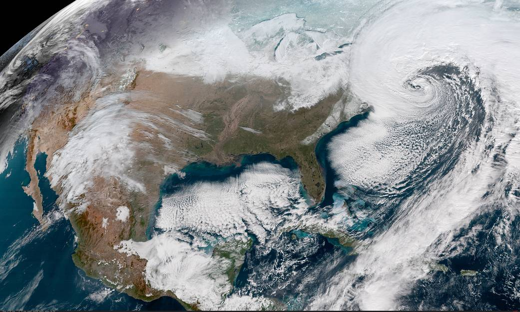 Satellite image of the United States on January 4