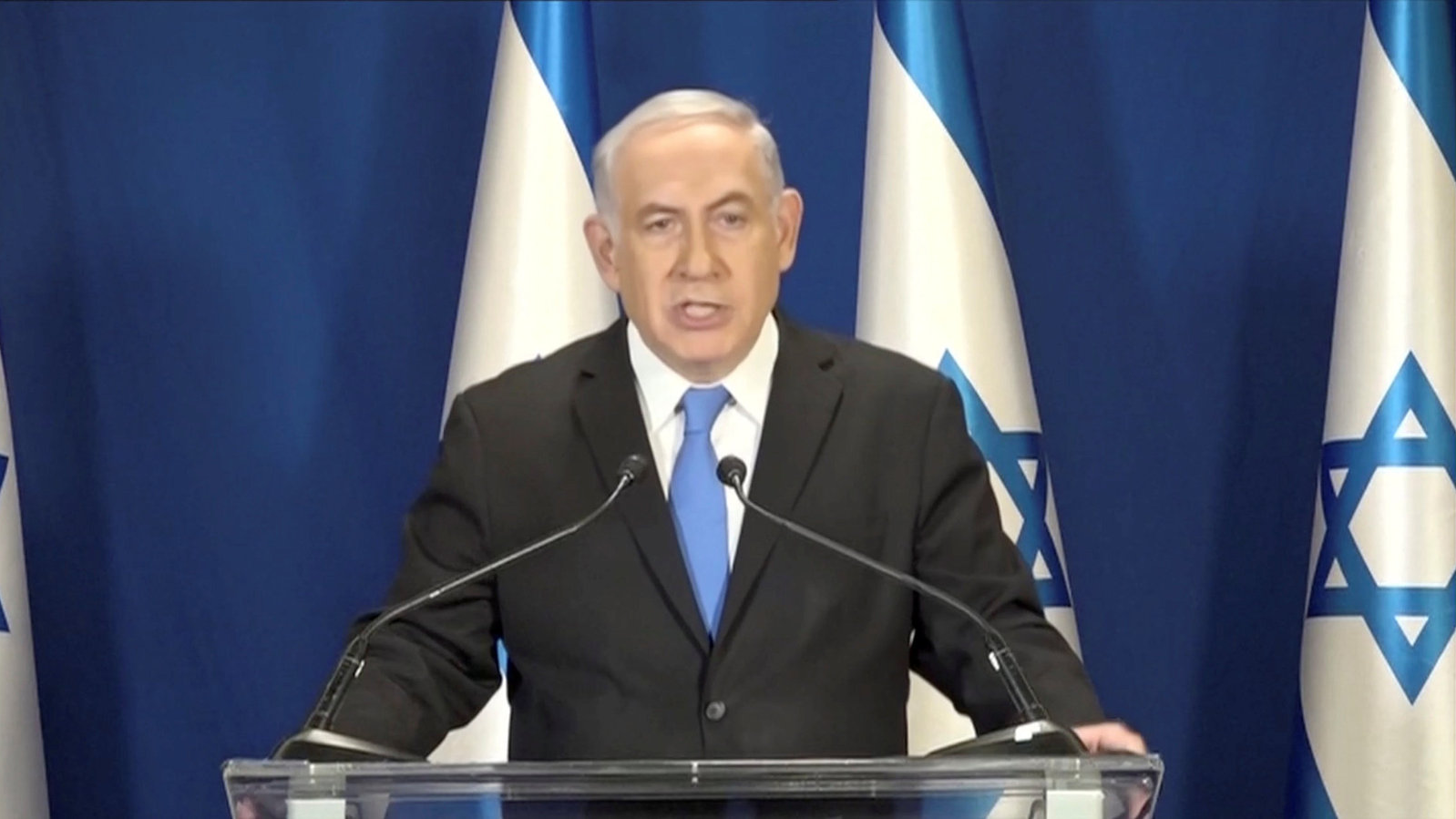 Israeli Prime Minister Benjamin Netanyahu delivers a statement in Jerusalem, in this picture grab taken Feb. 13, 2018.