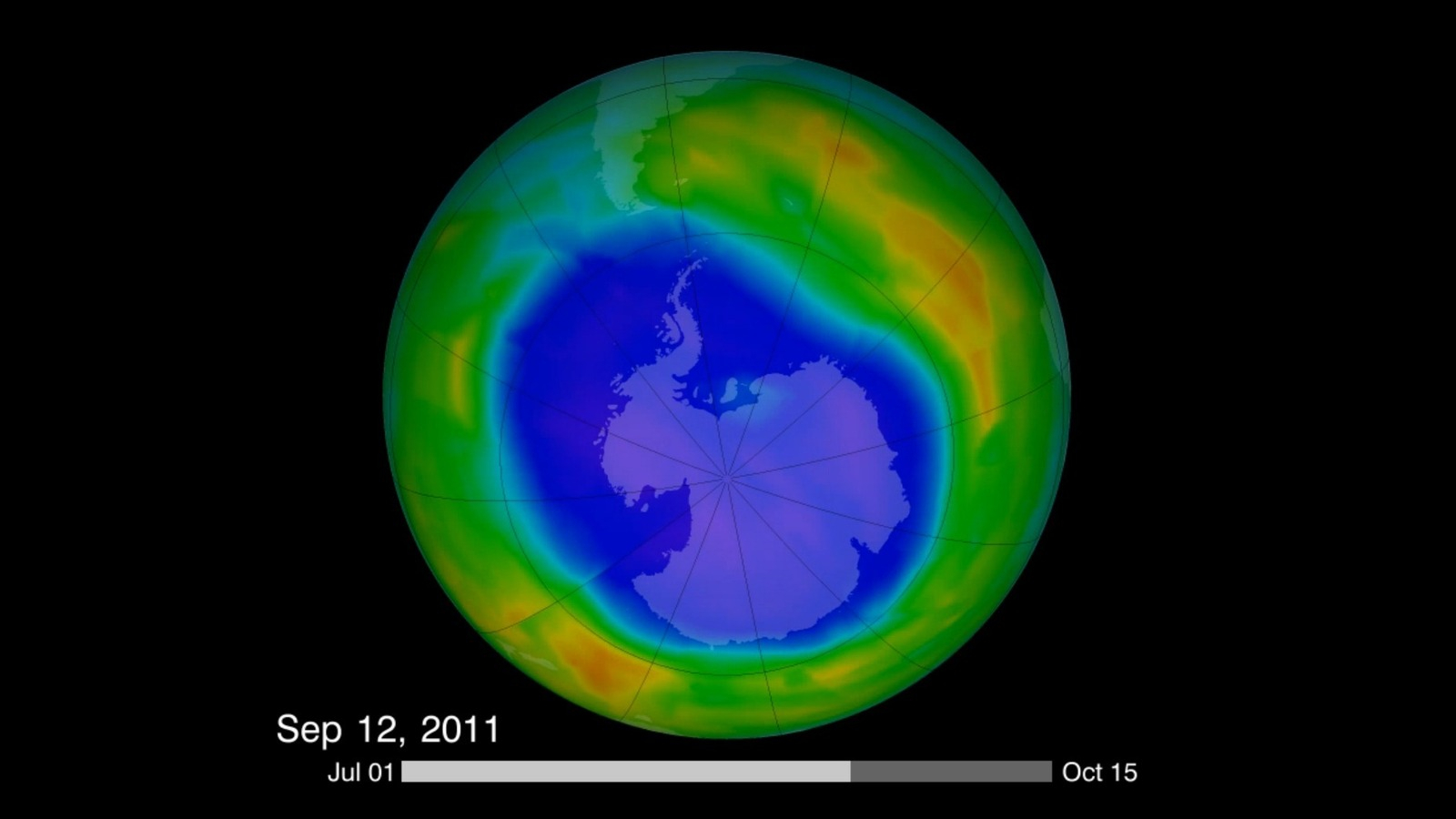 This image is from a video made in 2011 that compiled visualizations of the Antarctic ozone hole. Recent findings have shown that the hole is filling up — while other parts of ozone remain on the decline.