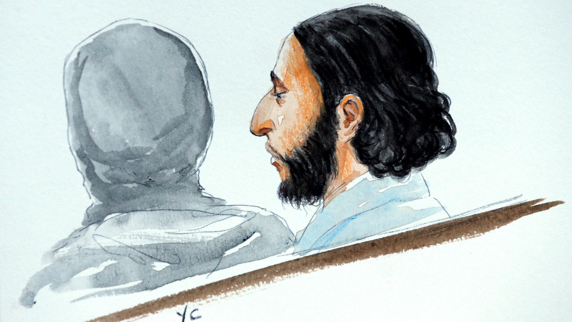 A court artist drawing shows Salah Abdeslam, one of the suspects in the 2015 ISIS attacks in Paris, in court during his trial in Brussels, Belgium.