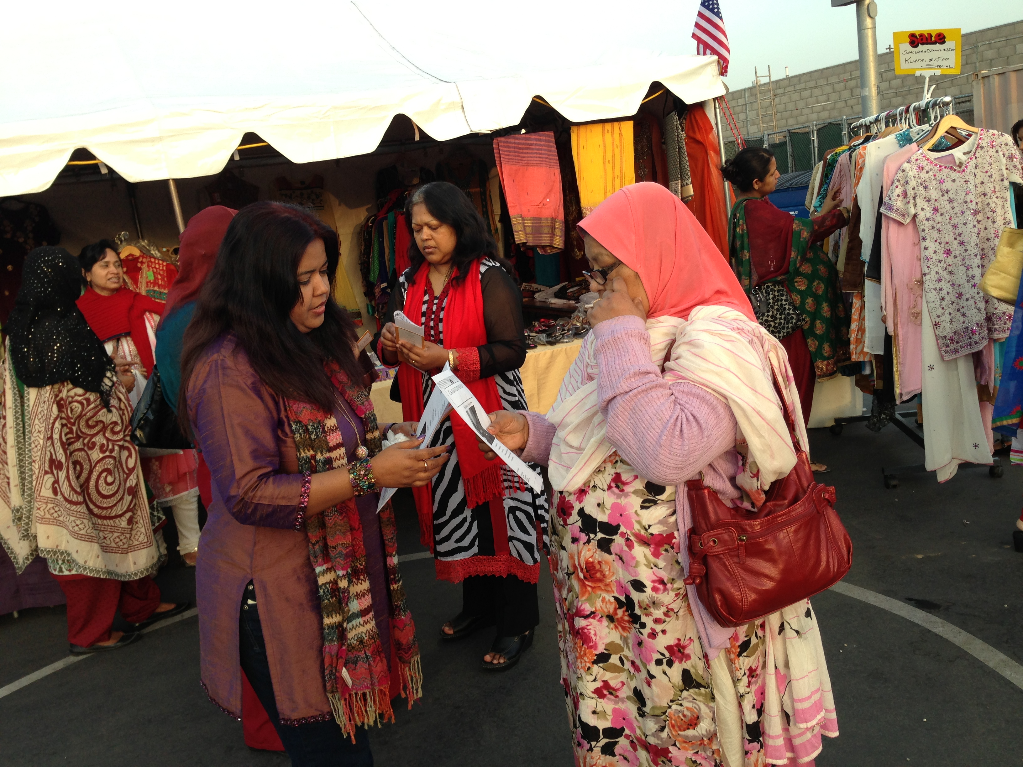 Riffat Rahman, a health care advocate, conducts outreach about the Affordable Care Act in a Los Angeles neighborhood called Little Bangladesh.