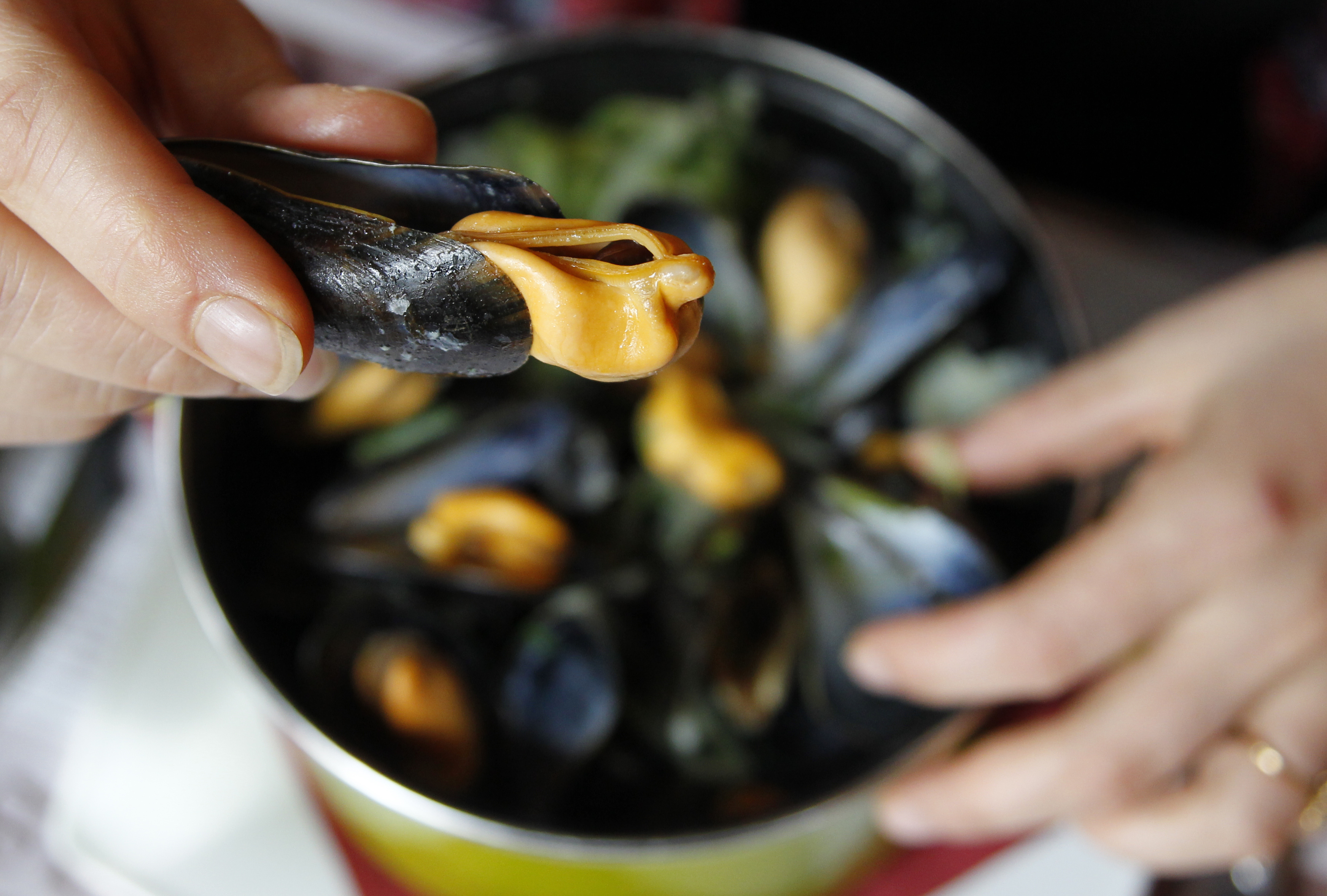 Eating a mussel