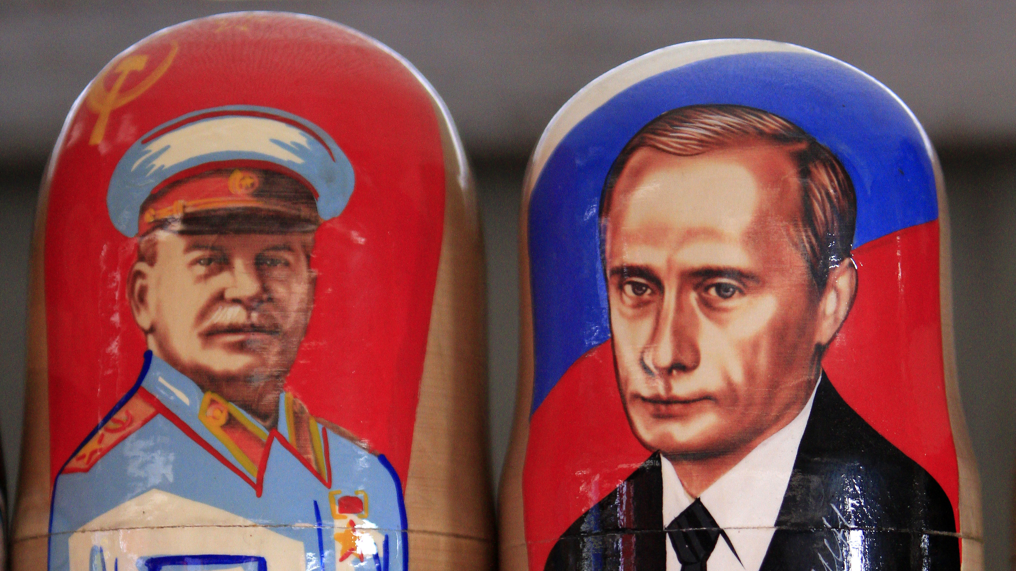 Traditional Matryoshka dolls or Russian nesting dolls bearing the faces of Russia's president elect and current Prime Minister Vladimir Putin and former Soviet dictator Josef Stalin are seen in a souvenir shop in Kiev March 5, 2012.