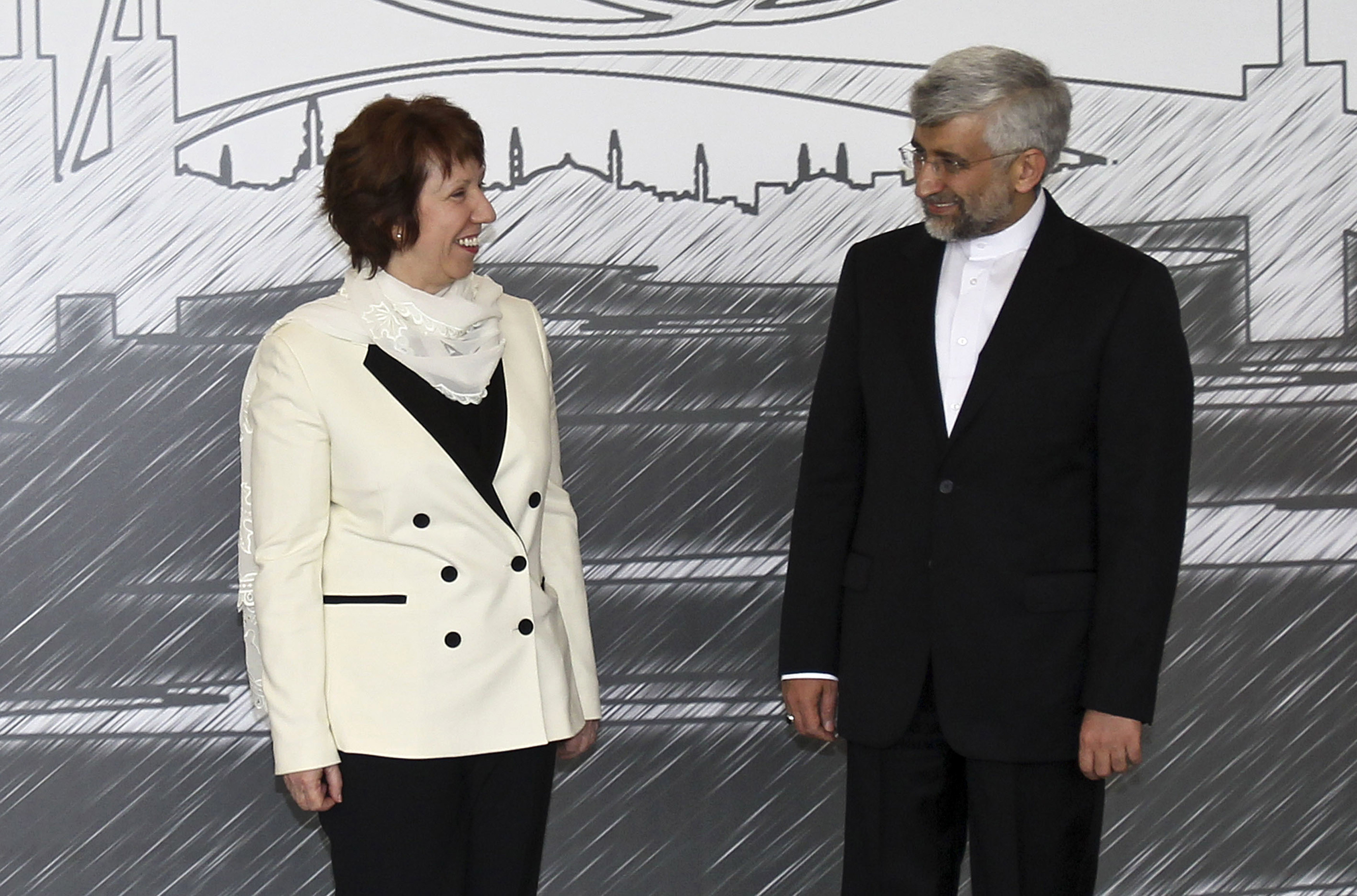 European Union foreign policy chief Catherine Ashton (L) and Iran's chief negotiator Saeed Jalili in Istanbul April 14, 2012