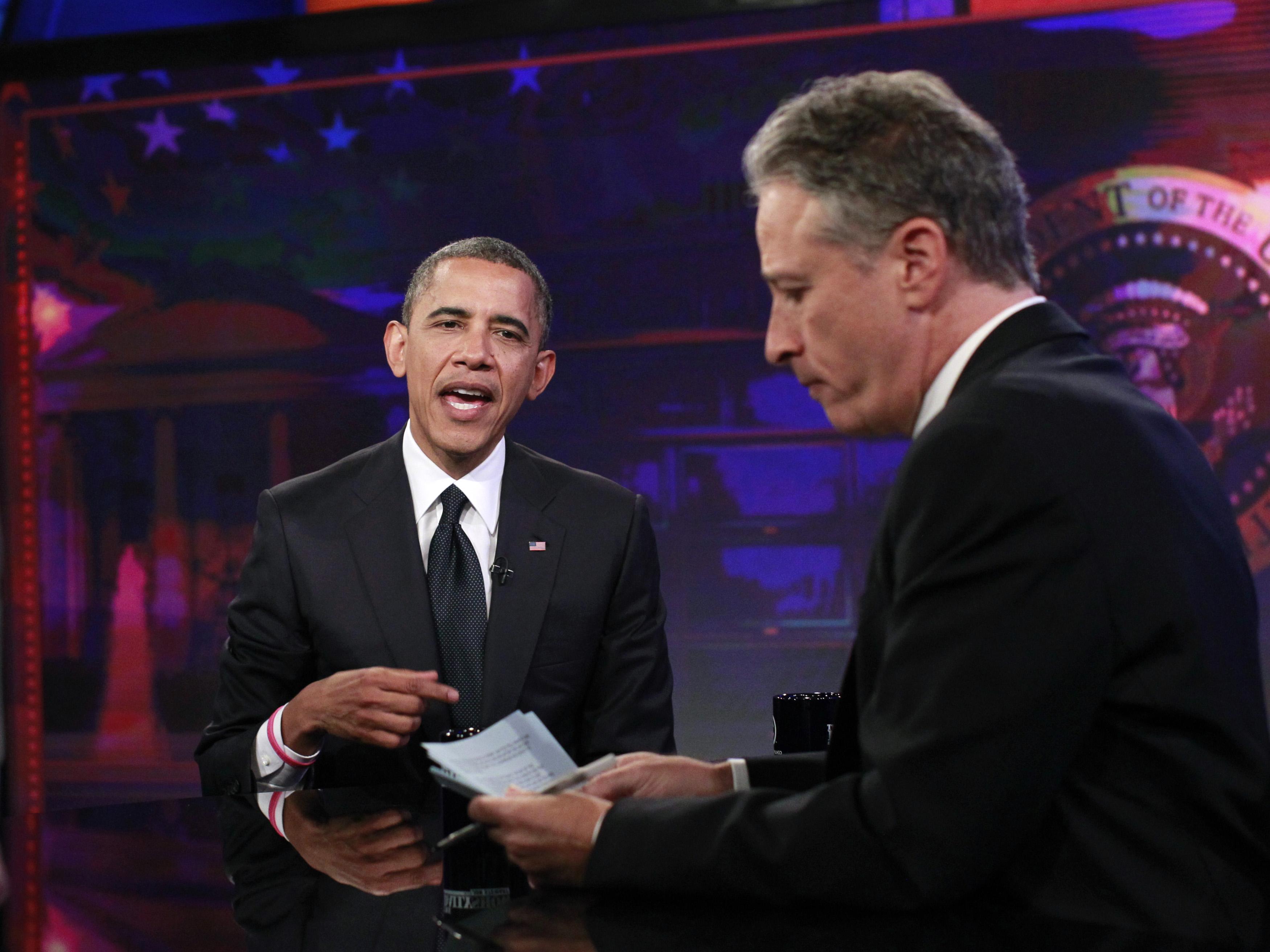 Jon Stewart interviews President Barack Obama in 2012.