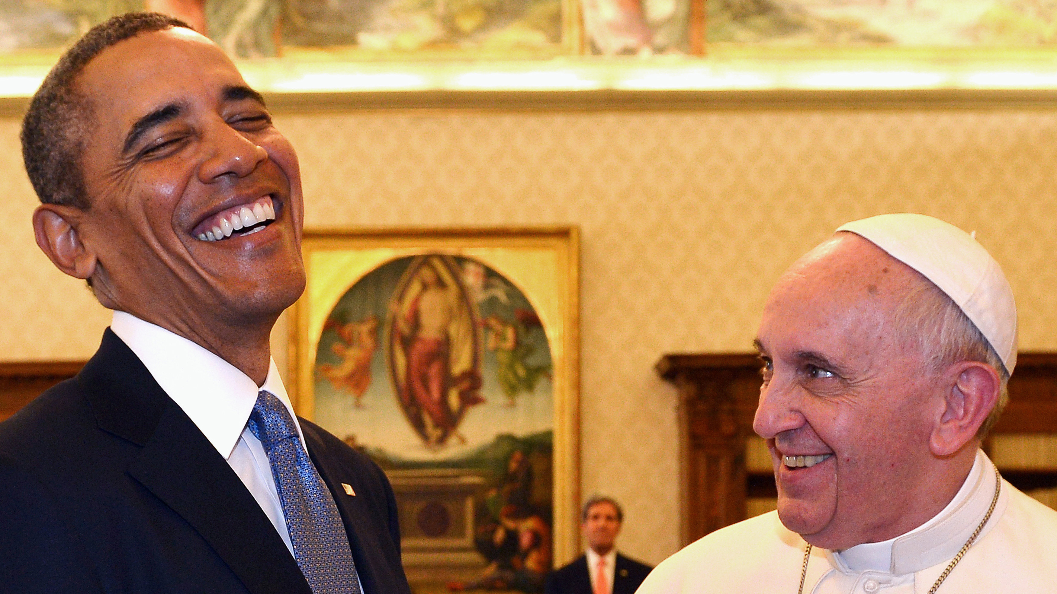 Pope Francis and President Barack Obama enjoying each other's company during their meeting Thursday in the Vatican.