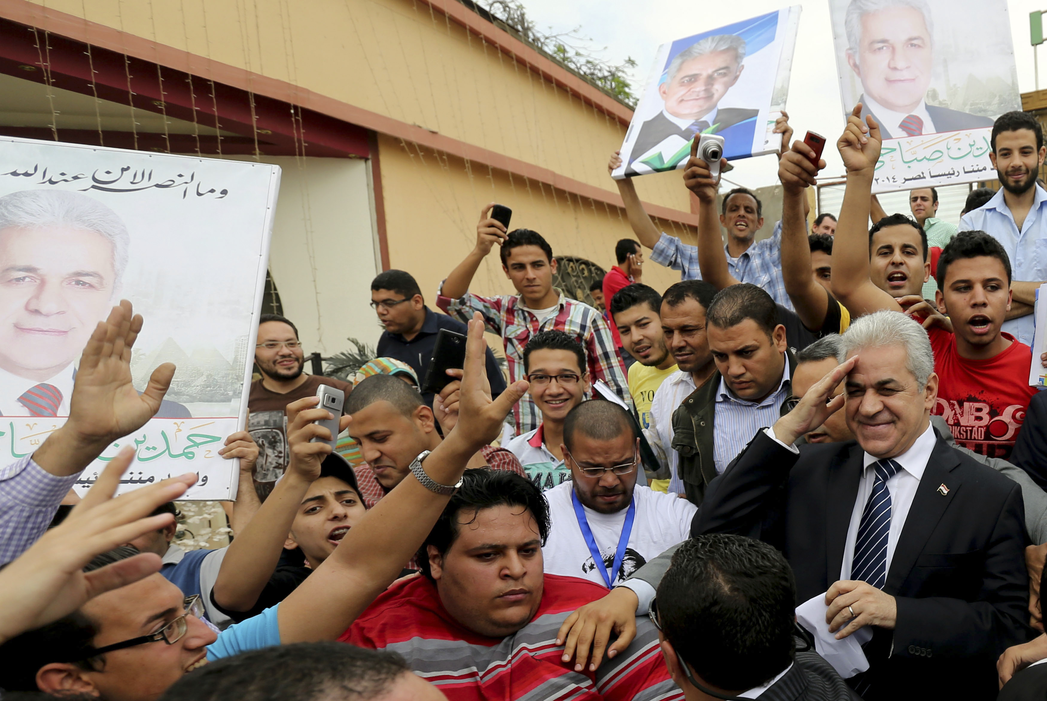 Egypt's leftist presidential candidate Hamdeen Sabahi (center) gestures before a rally in Banha, northwest of Cairo. Egyptians will vote in presidential elections on May 26 and 27.