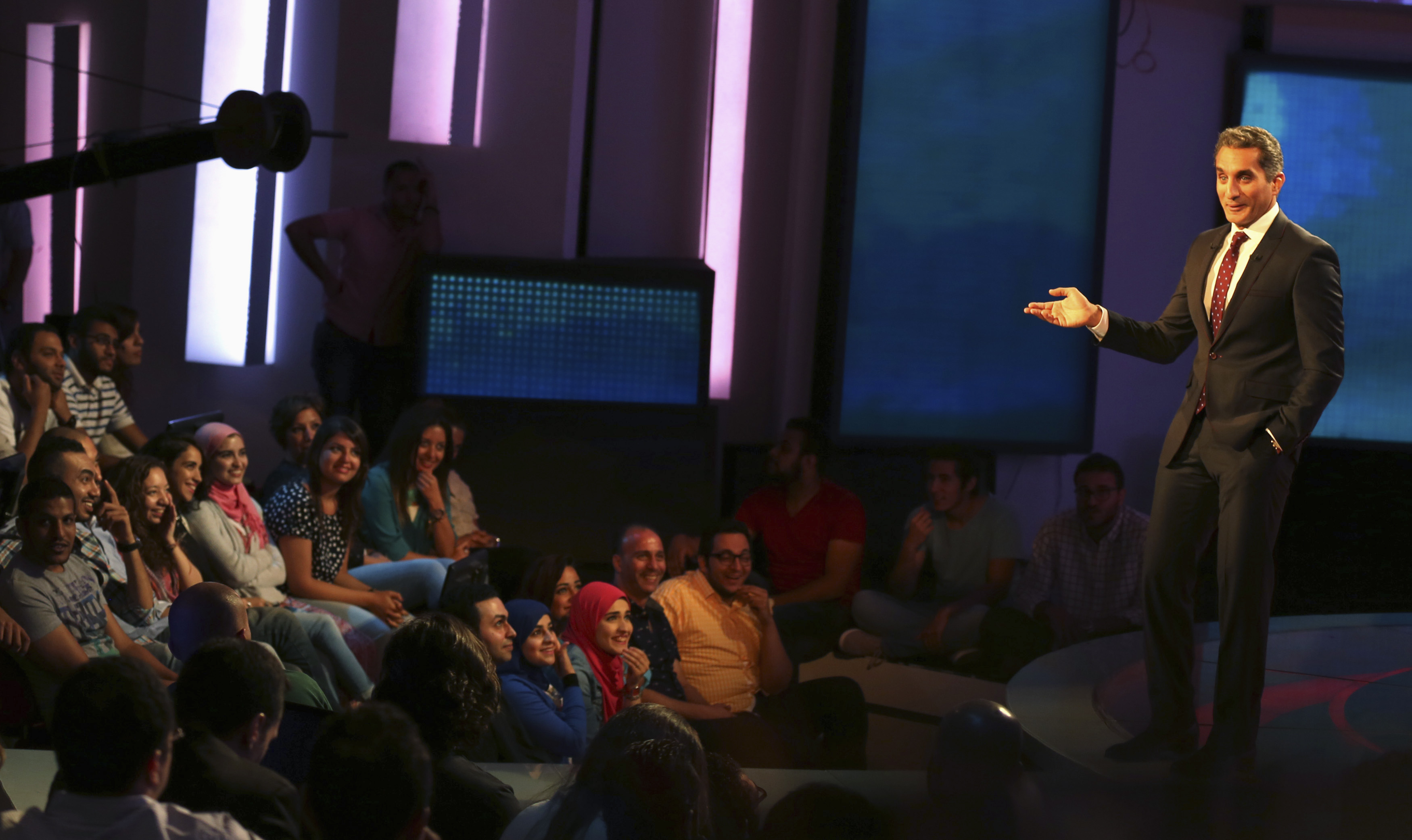 """Egypt's TV satirist, Bassem Youssef, said his show had been cancelled amid speculation it was because his latest script poked fun at a presidential election won by the former army chief .Bassem Youssef is often referred to as the """"Egyptian Jon Stewart."""""""