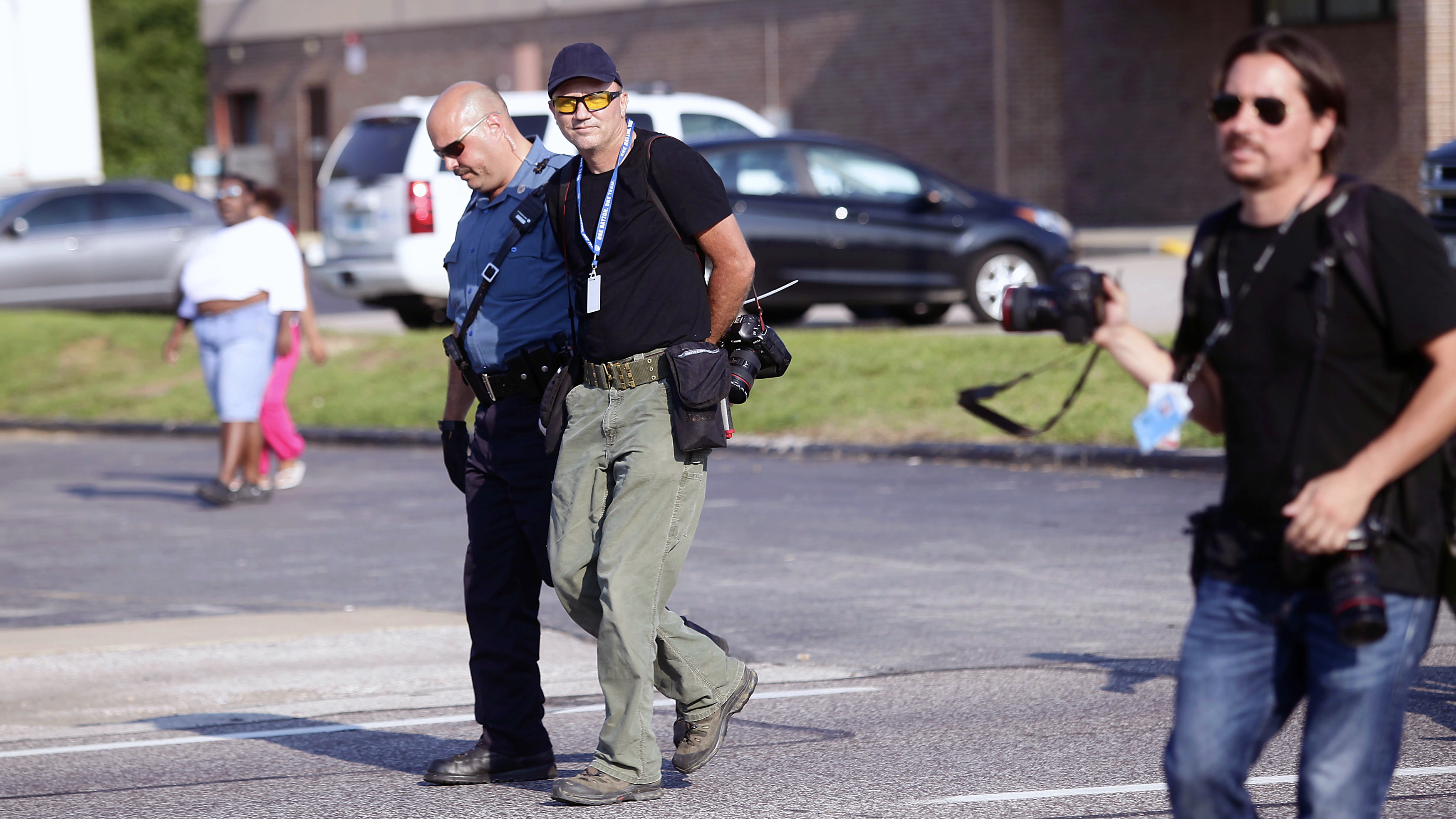 Among several of the journalists arrested by police in Ferguson in recent days was Scott Olson, a photographer with Getty Images, who was detained on August 18th.