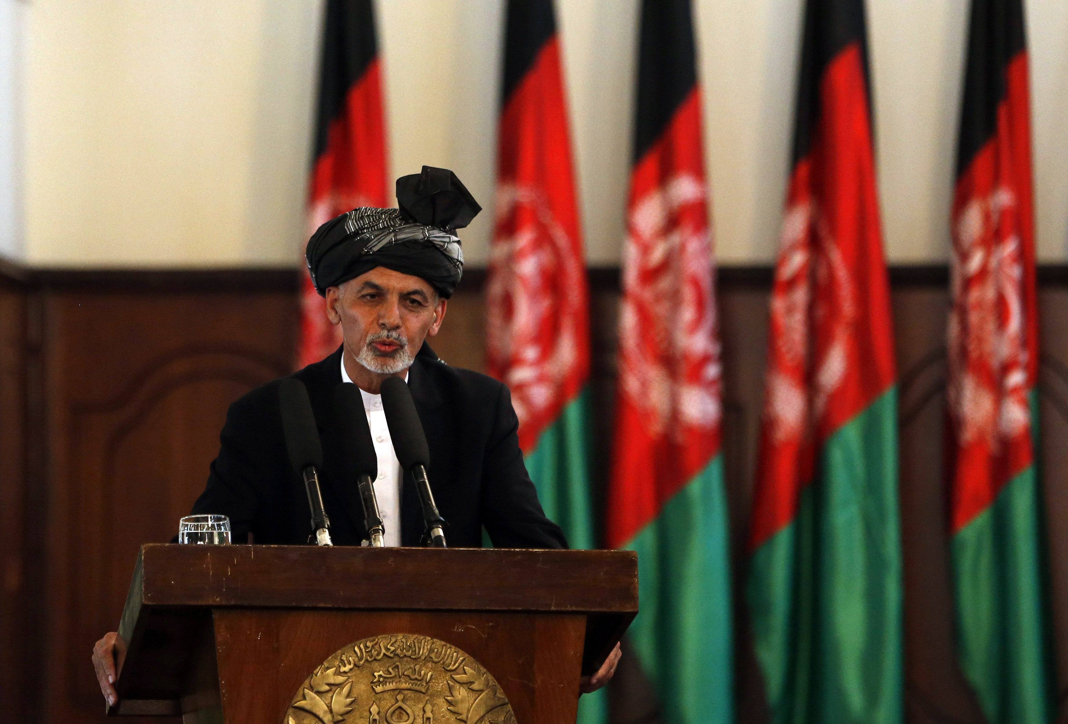 Afghanistan's new President Ashraf Ghani Ahmadzai speaks during his inauguration as president in Kabul on September 29, 2014.