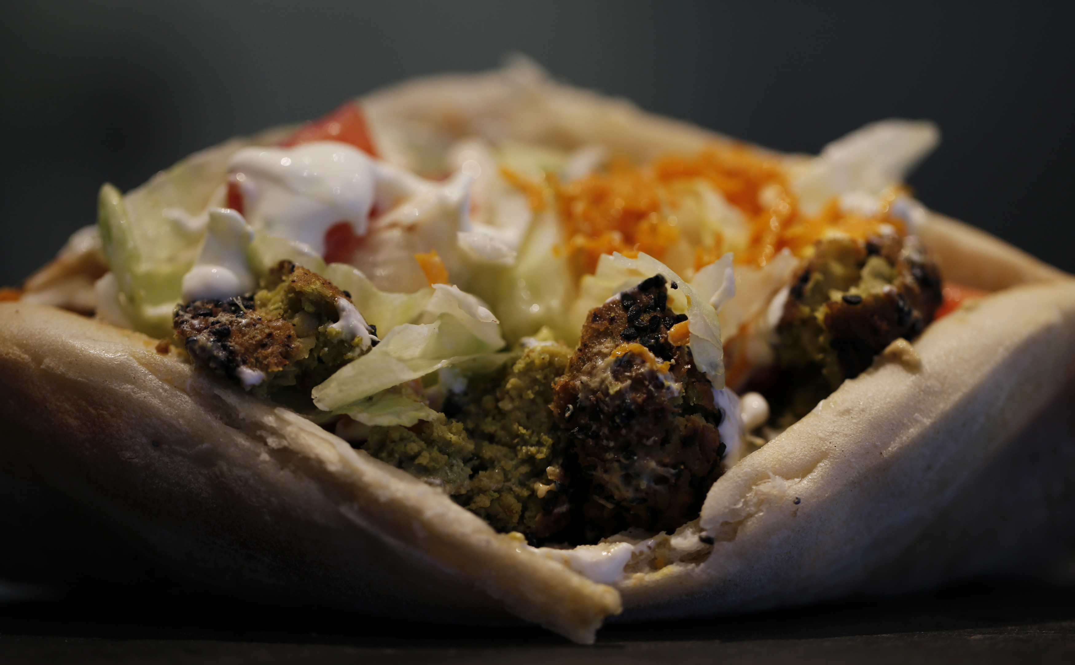 A vegetarian kebab is seen at OUR restaurant near the Saint-Lazare train station in Paris October 27, 2014.