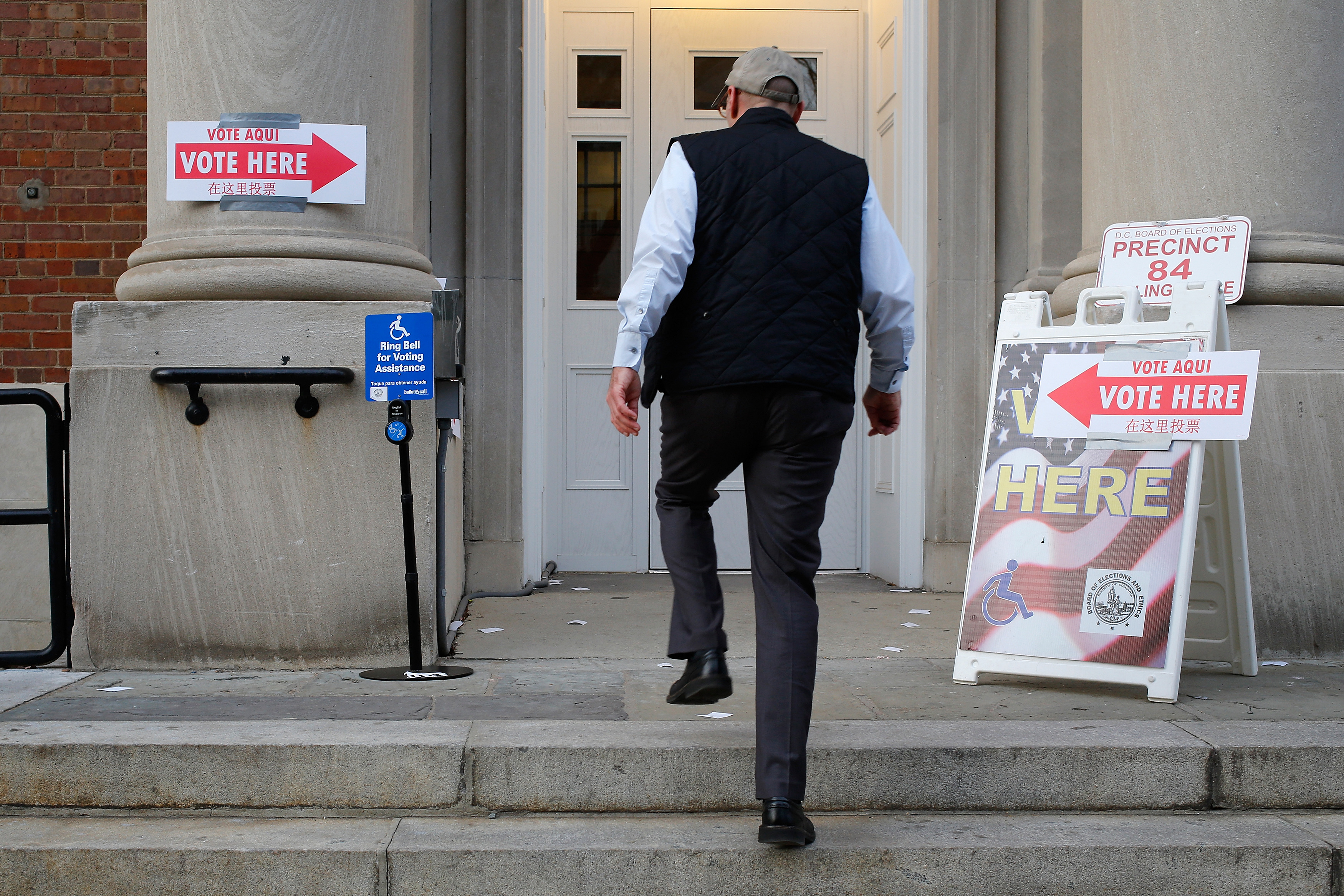 A voter enters the polling place on Election Day at Stuart-Hobson Middle School in Washington, DC, on November 4, 2014.