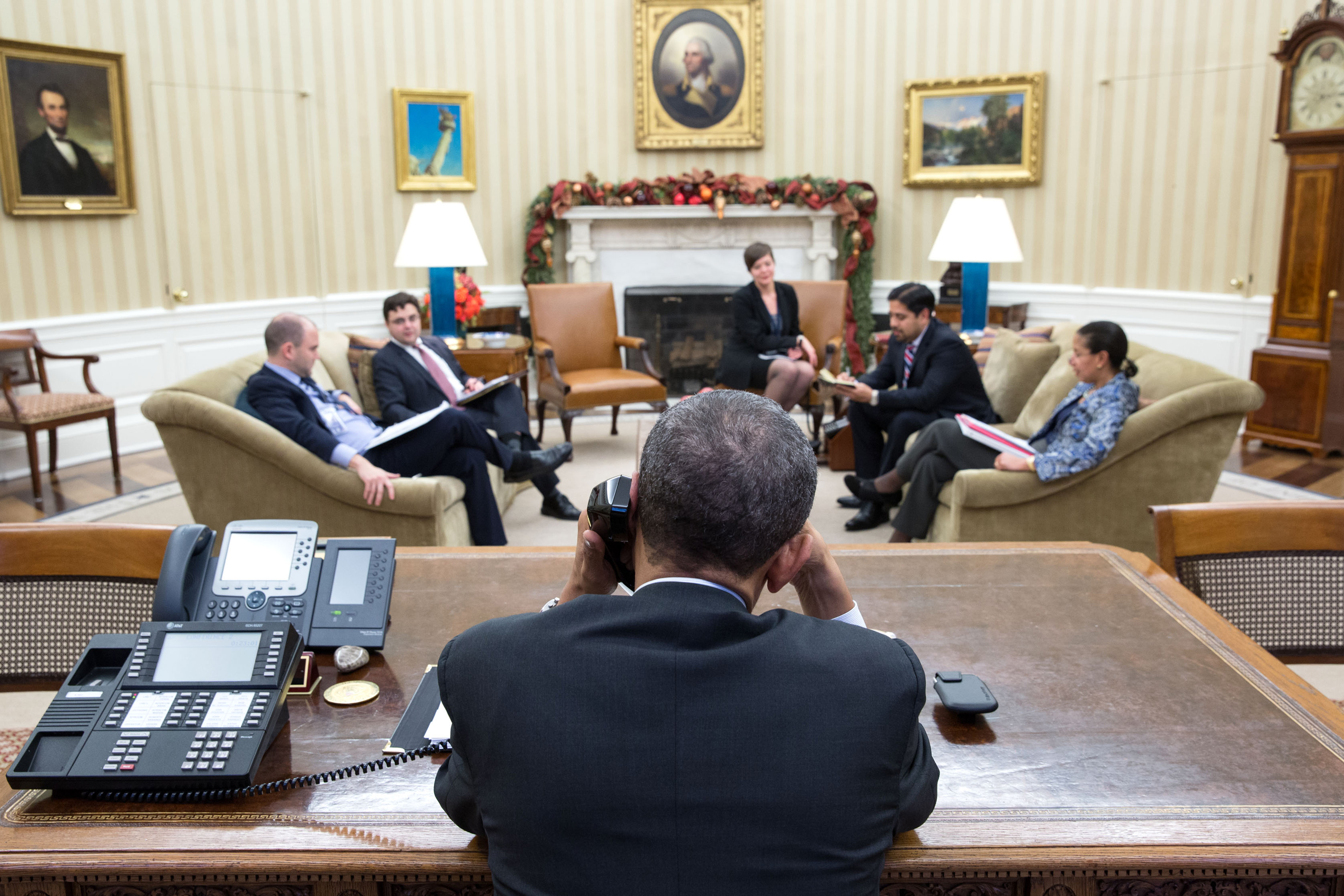 President Obama talks with Cuban President Raul Castro before the thaw in US-Cuban relations was announced on December 17, 2014.