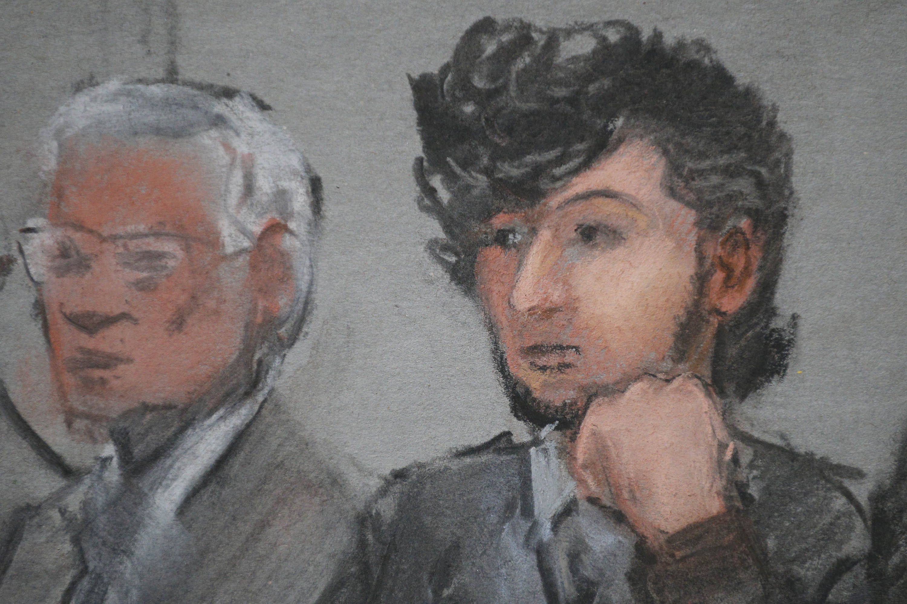 Accused Boston Marathon bomber Dzhokhar Tsarnaev is shown in a courtroom sketch on the first day of jury selection at the federal courthouse in Boston, Massachusetts, on January 5, 2015.