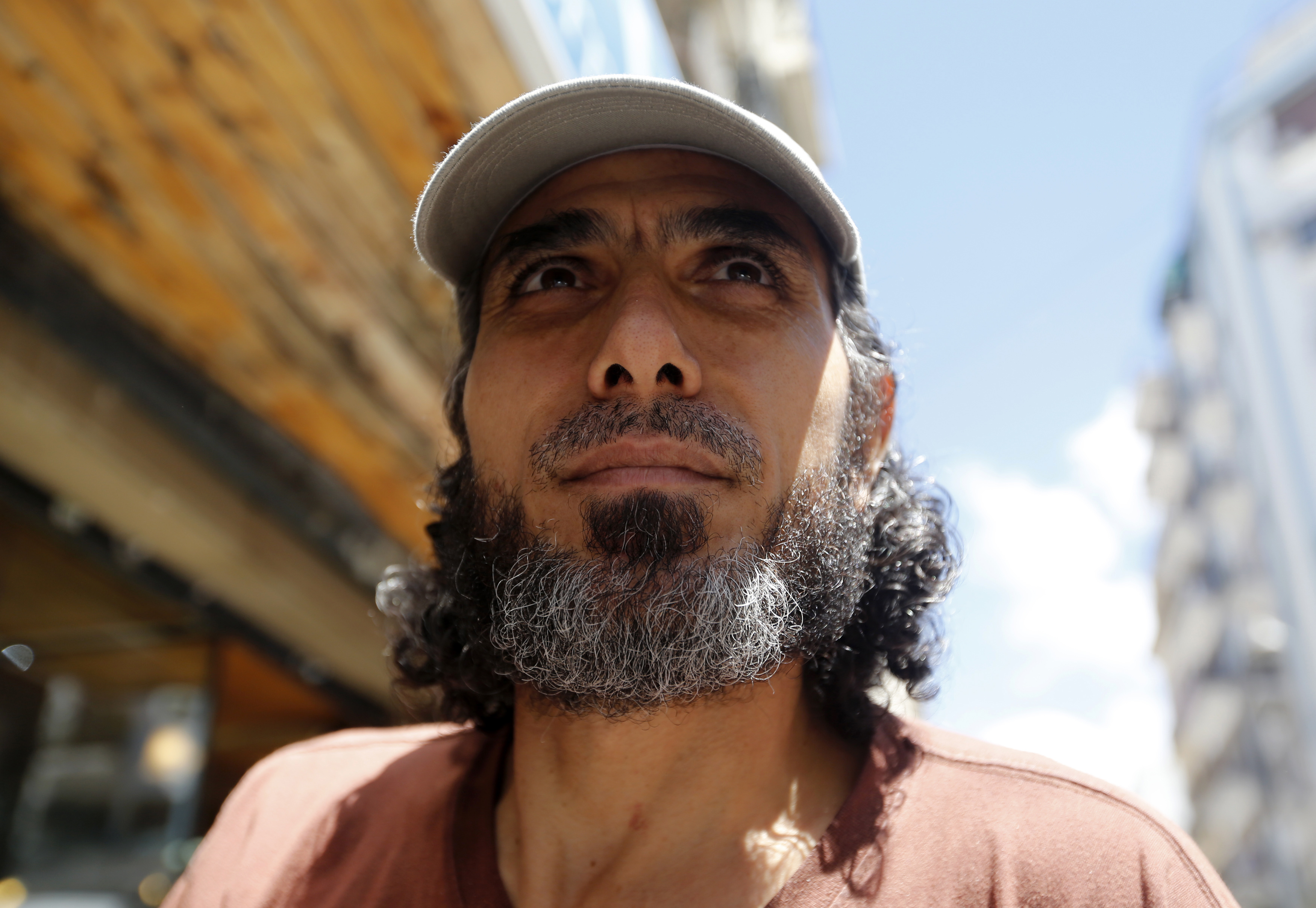 Former Guantánamo Bay detainee Abu Wa'el Dhiab looks on as he arrives for an interview in Buenos Aires on Feb. 13, 2015.