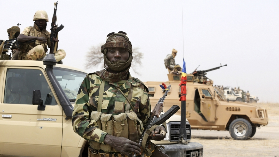 A Chadian soldier during a battle against insurgent group Boko Haram in Gambaru, Nigeria, February 26th 2015. Gambaru lies on the border with Cameroon.