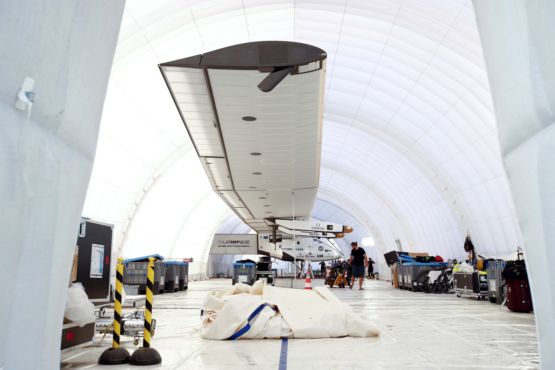 Solar Impulse 2 parked in Japan