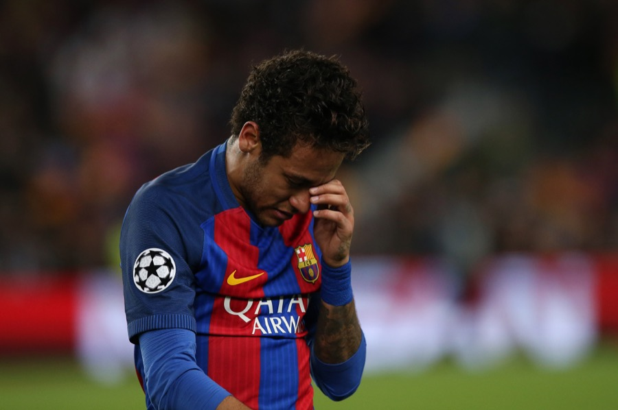 Barcelona's Neymar looking dejected after a game at Nou Camp in Barcelona, Spain, on April 19.