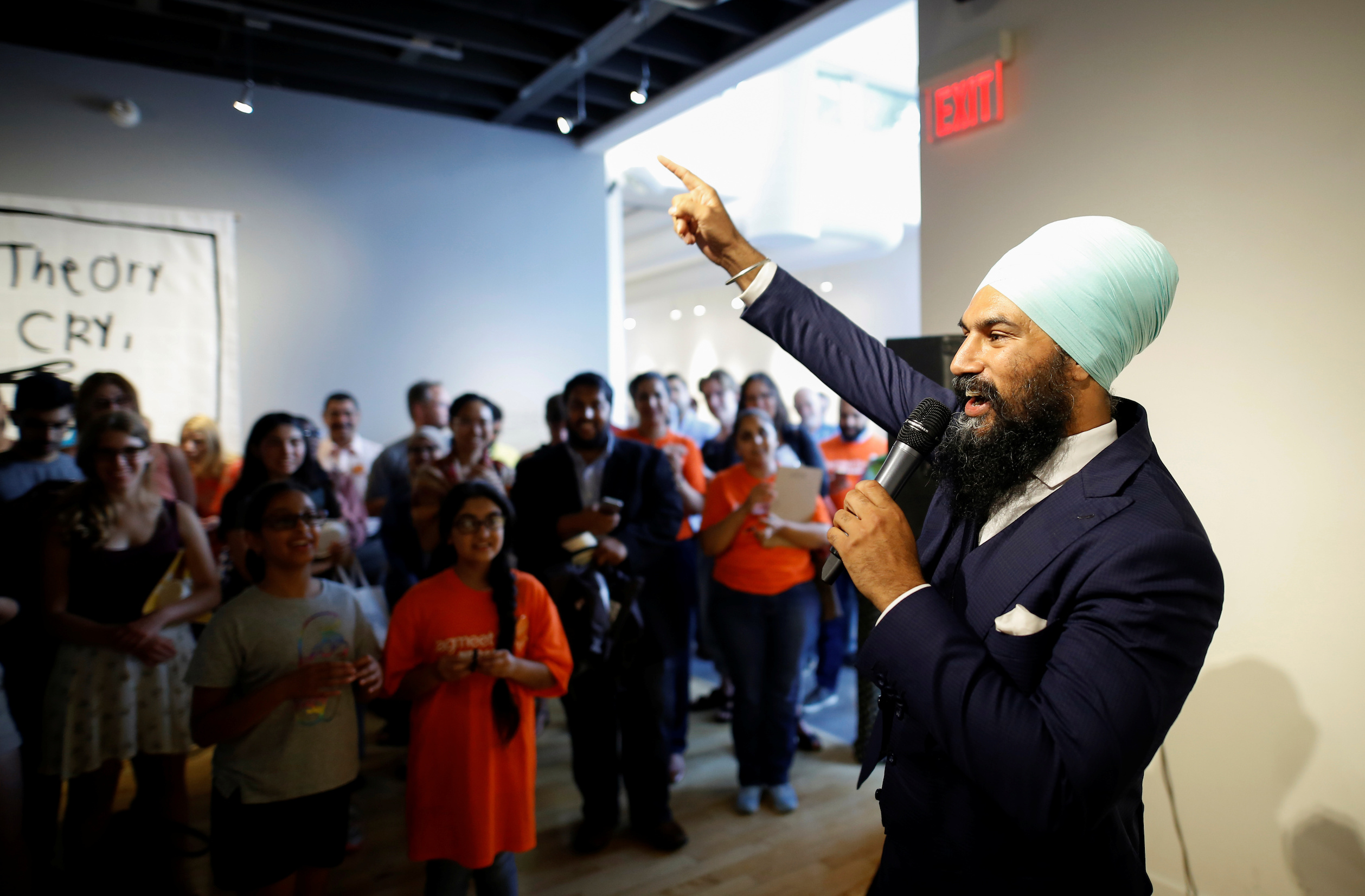 New Democratic Party candidate Jagmeet Singh speaks at an event in Hamilton, Ontario, Canada, on July 17, 2017.