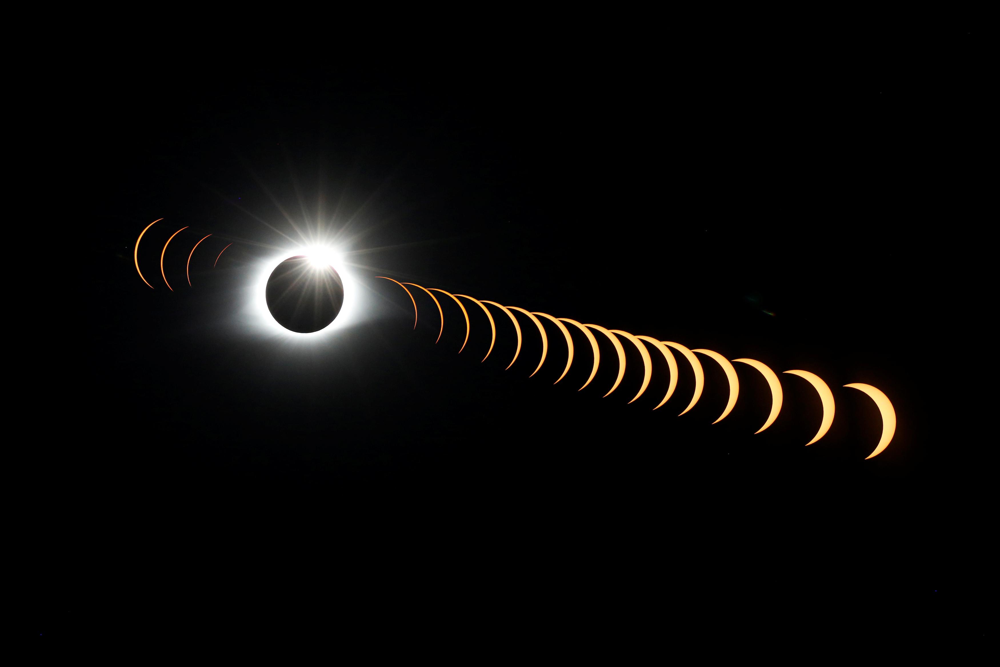 time-lapse eclipse photo