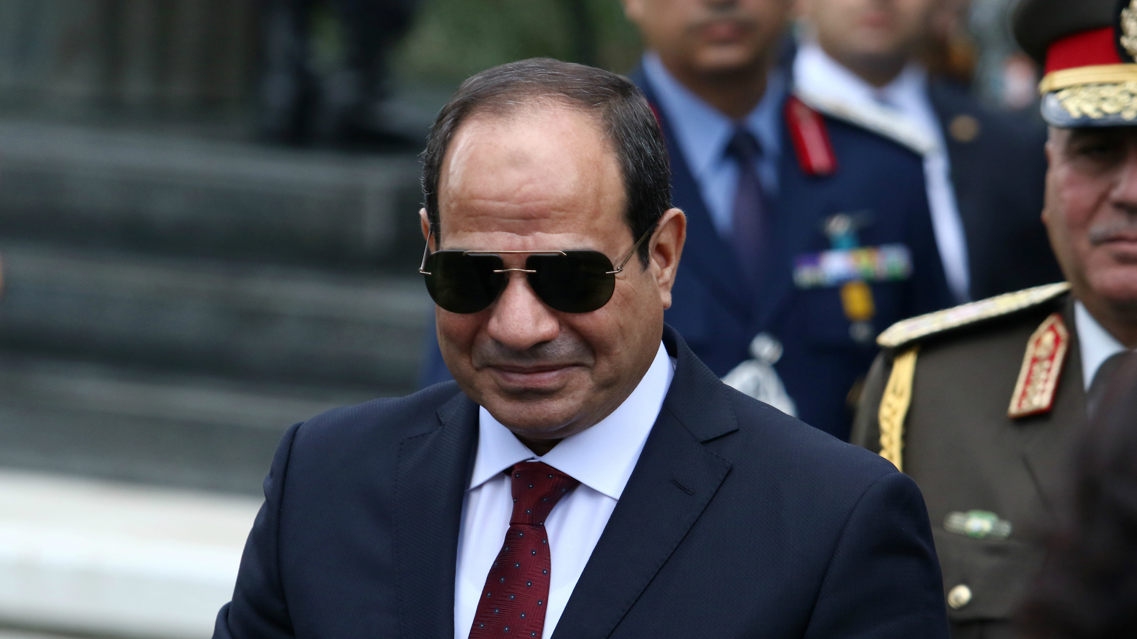 Egyptian President Abdul Fattah al-Sisi attends a welcome ceremony at the Presidential Palace in Nicosia, Cyprus, Nov. 20, 2017.
