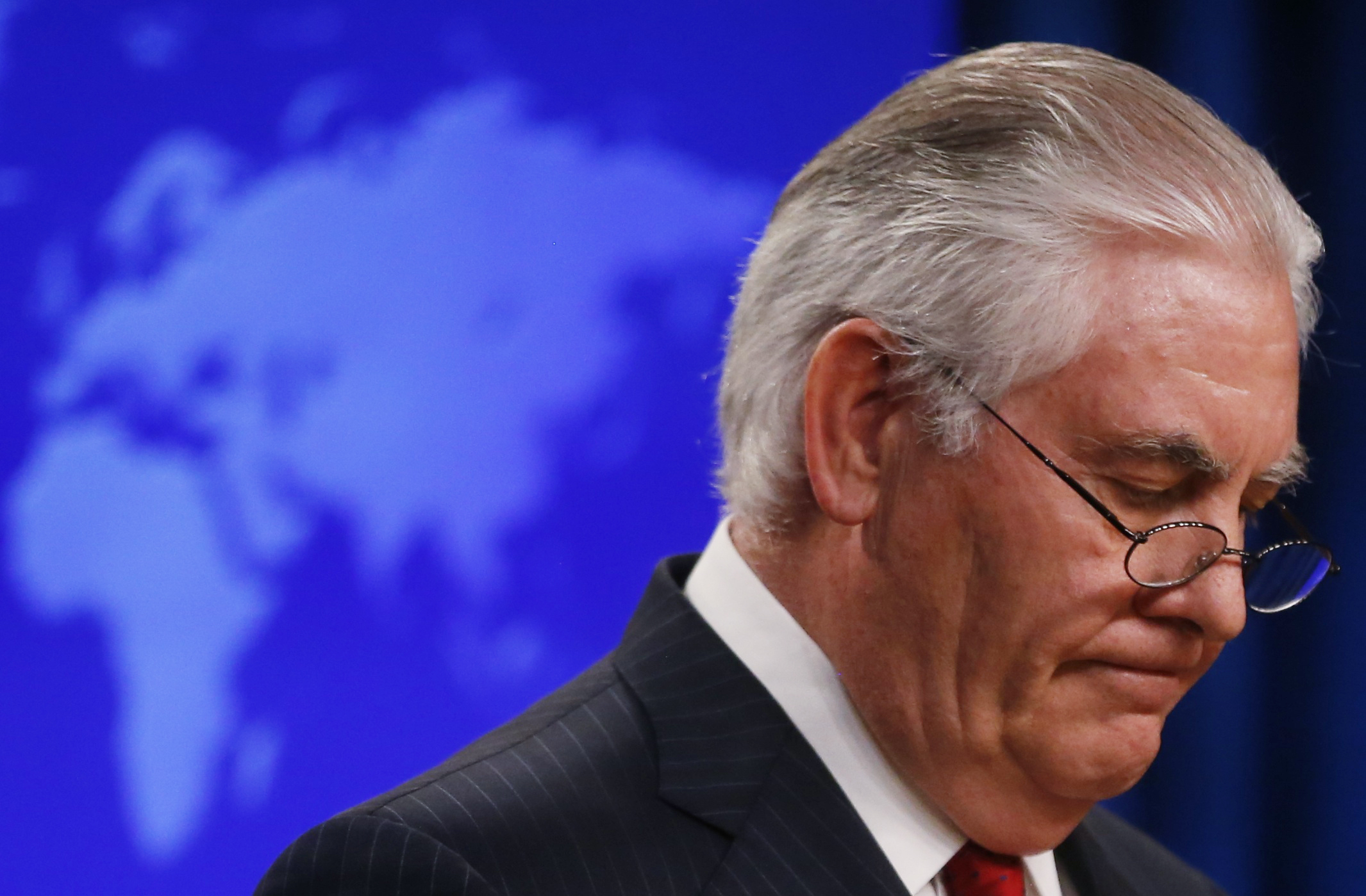 US Secretary of State Rex Tillerson speaks to the media at the US State Department after being fired by President Donald Trump