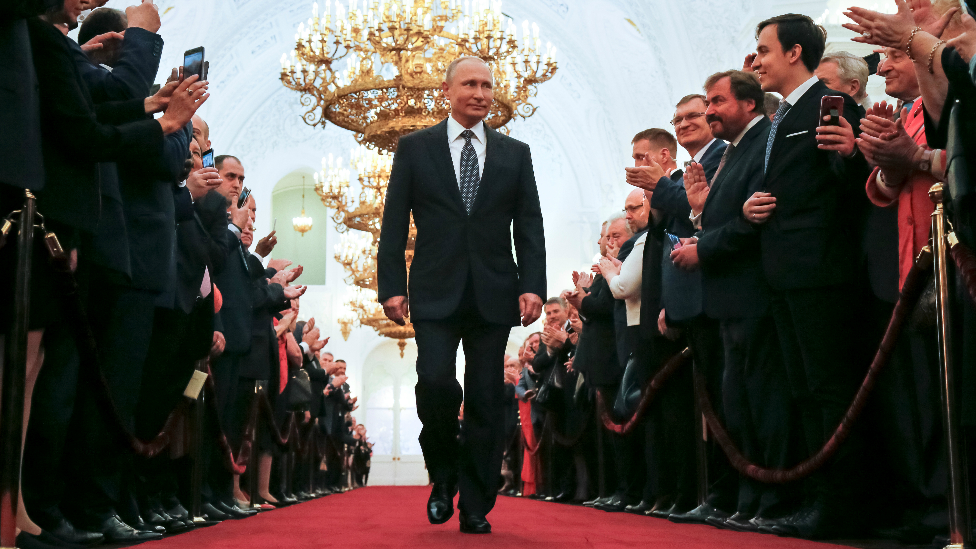 Russian President Vladimir Putin attends his fourth inauguration ceremony at the Kremlin in Moscow, Russia, May 7, 2018.