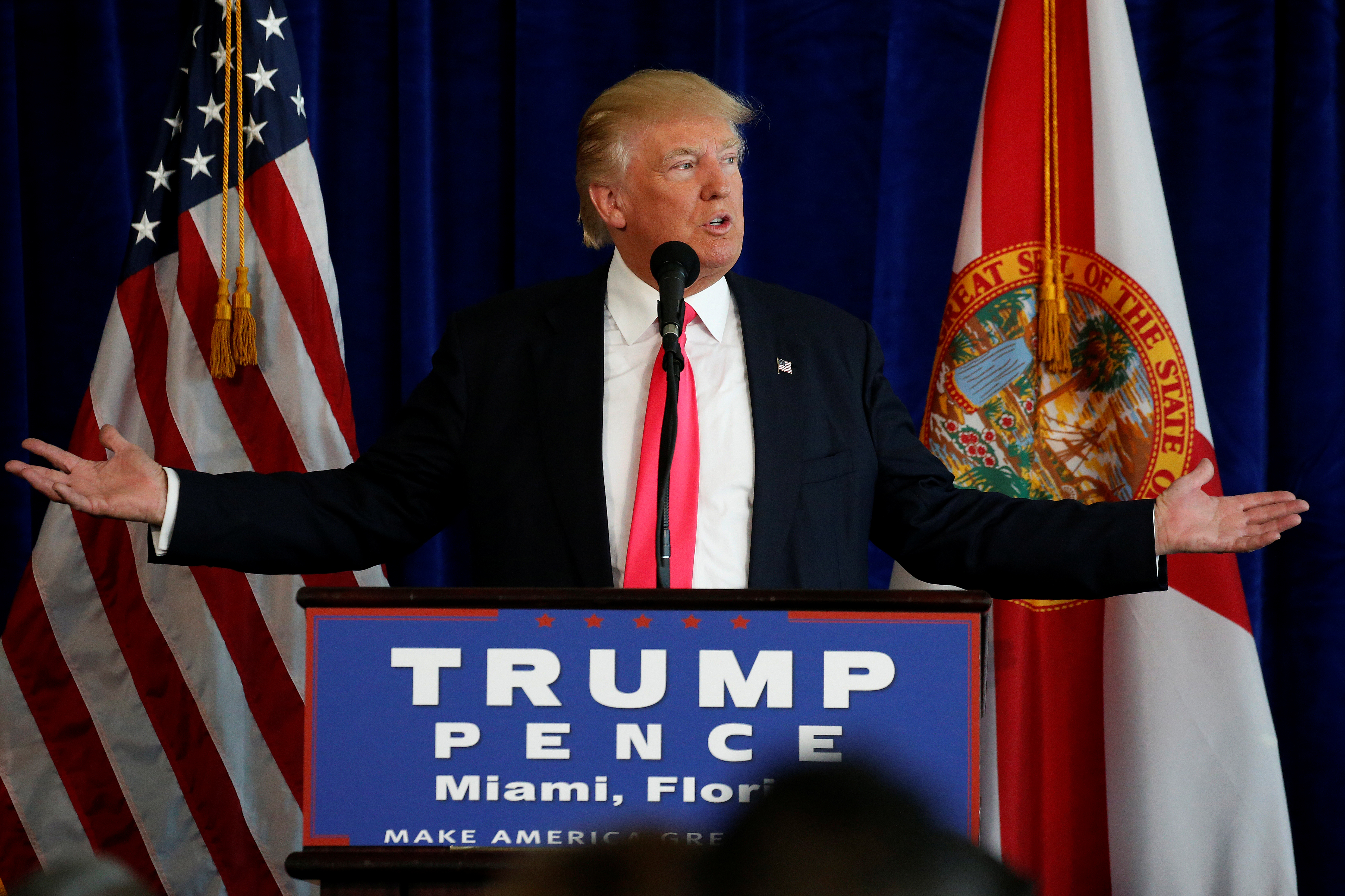 Republican presidential nominee Donald Trump speaks at a campaign event at Trump Doral golf course in Miami, Florida, U.S., July 27, 2016.