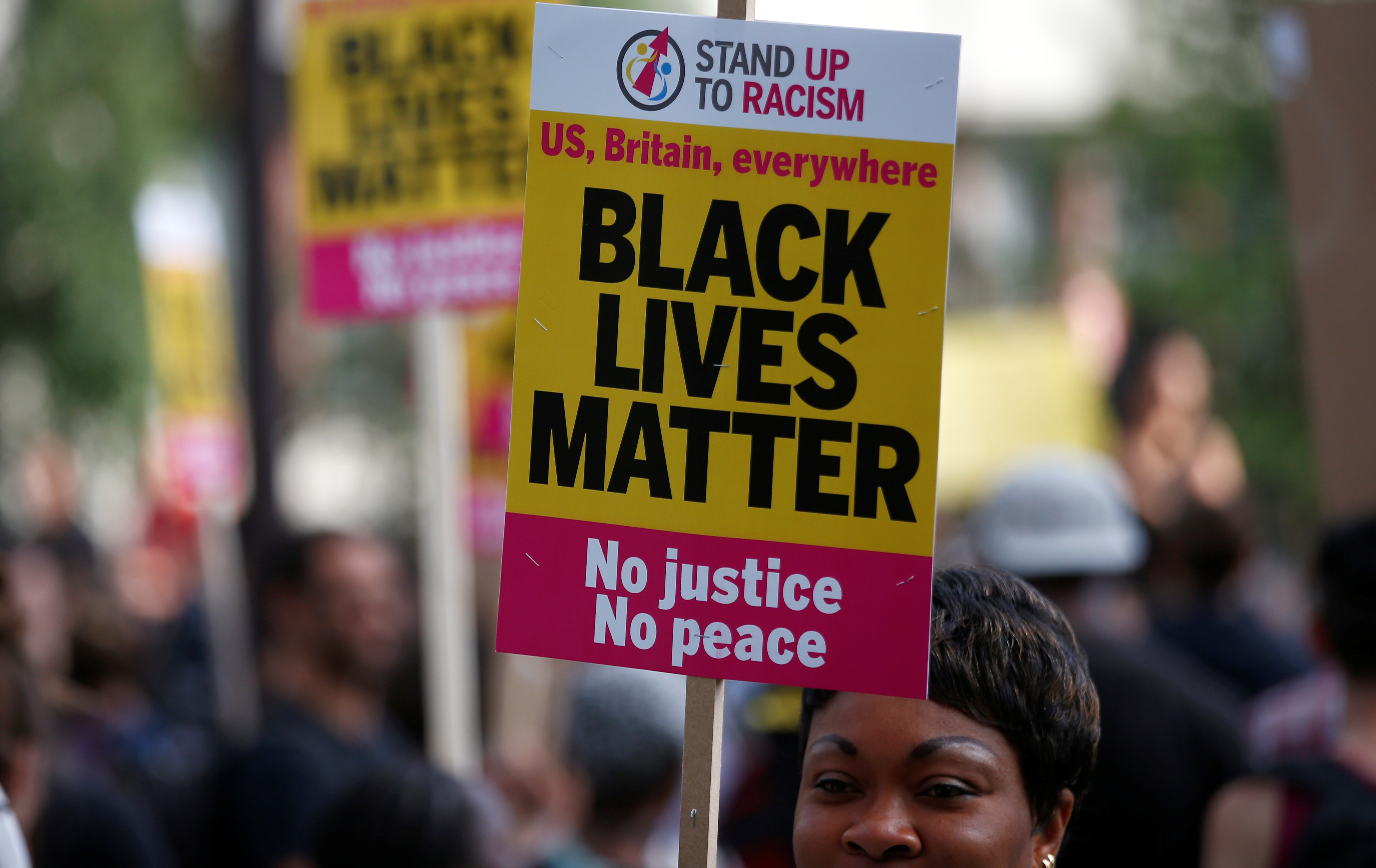 A supporter of Black Lives Matter at a protest in London.