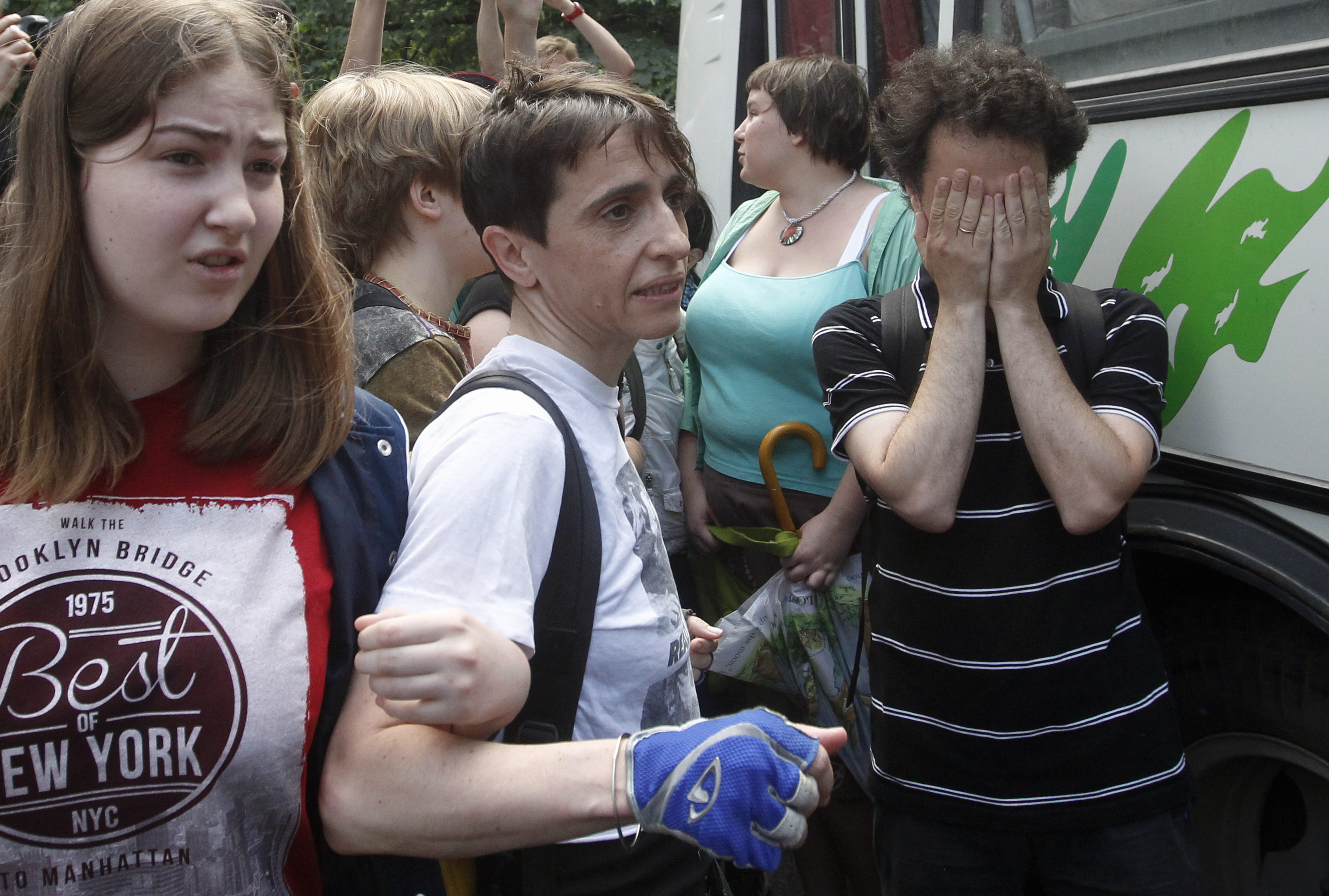Russia-born U.S. journalist Masha Gessen (center) in a 2013 protest in Moscow against a proposed new law that would ban gay rights rallies.