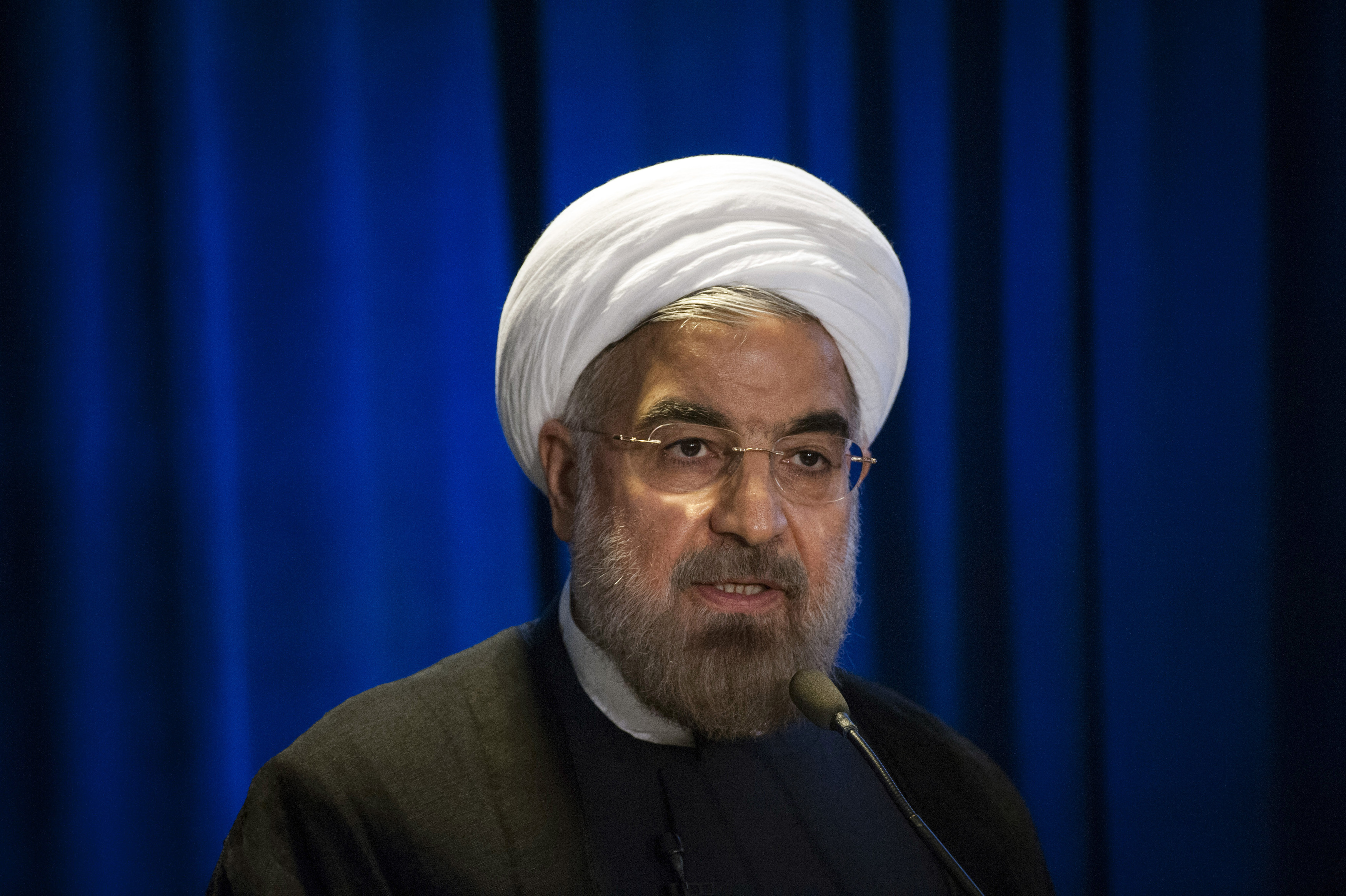 Iran's President Hasan Rouhani speaks during an event in New York