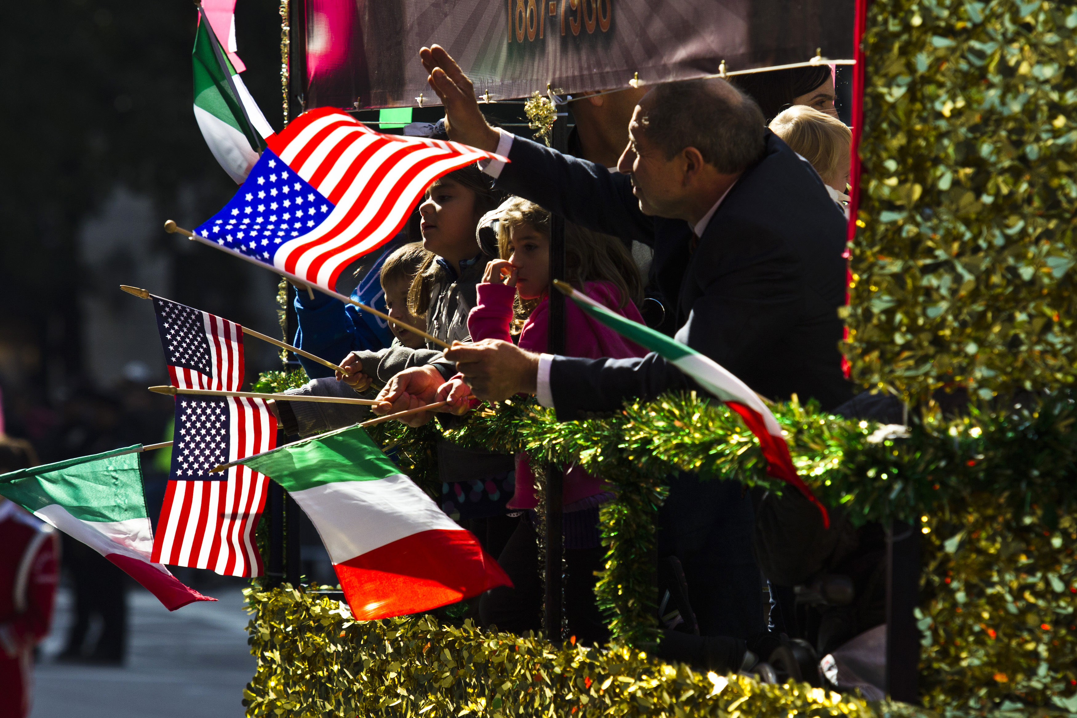 People take part in the 69th Annual Columbus Day Parade in New York in 2013.