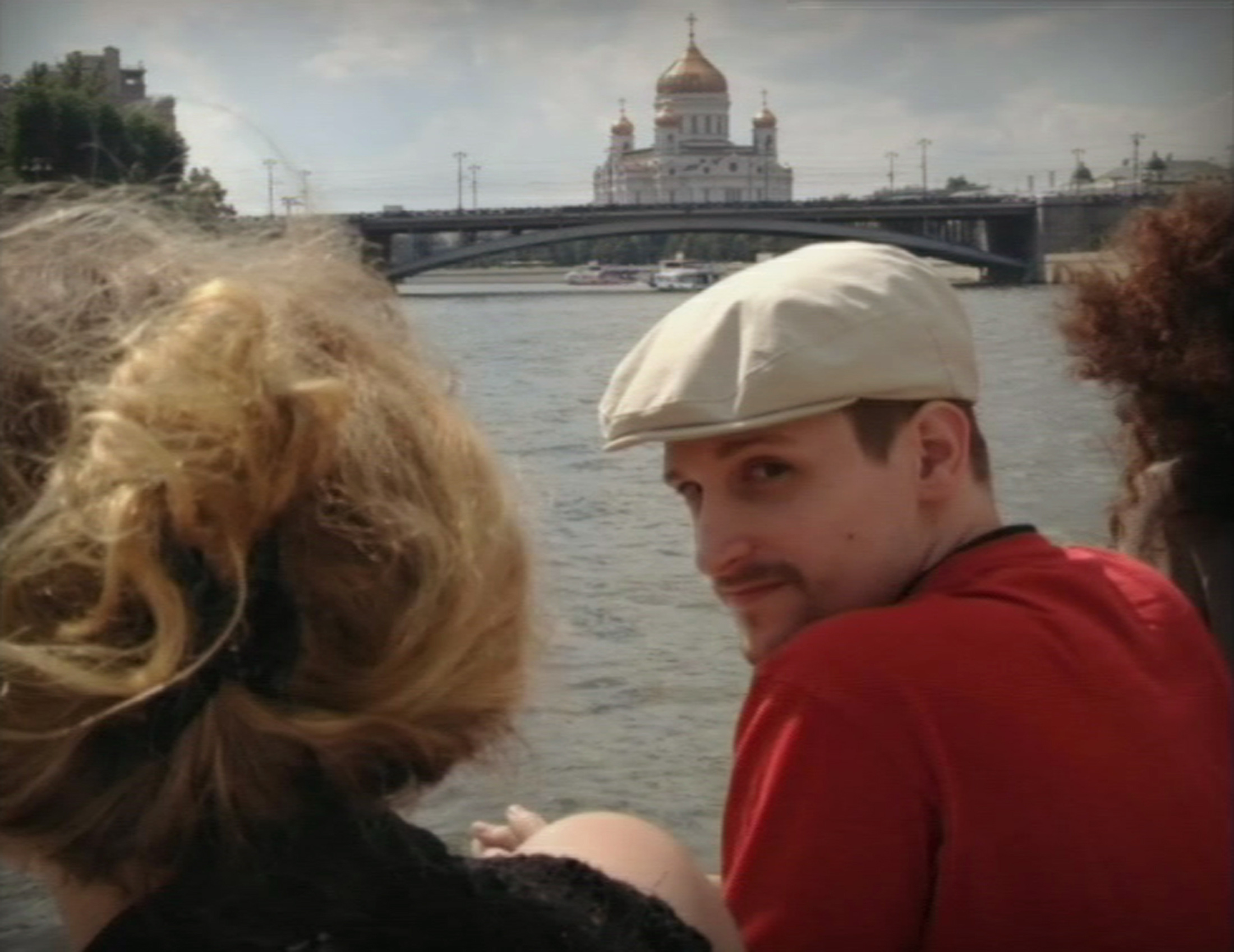 Edward Snowden, is seen in front of the Christ the Saviour Cathedral in central Moscow