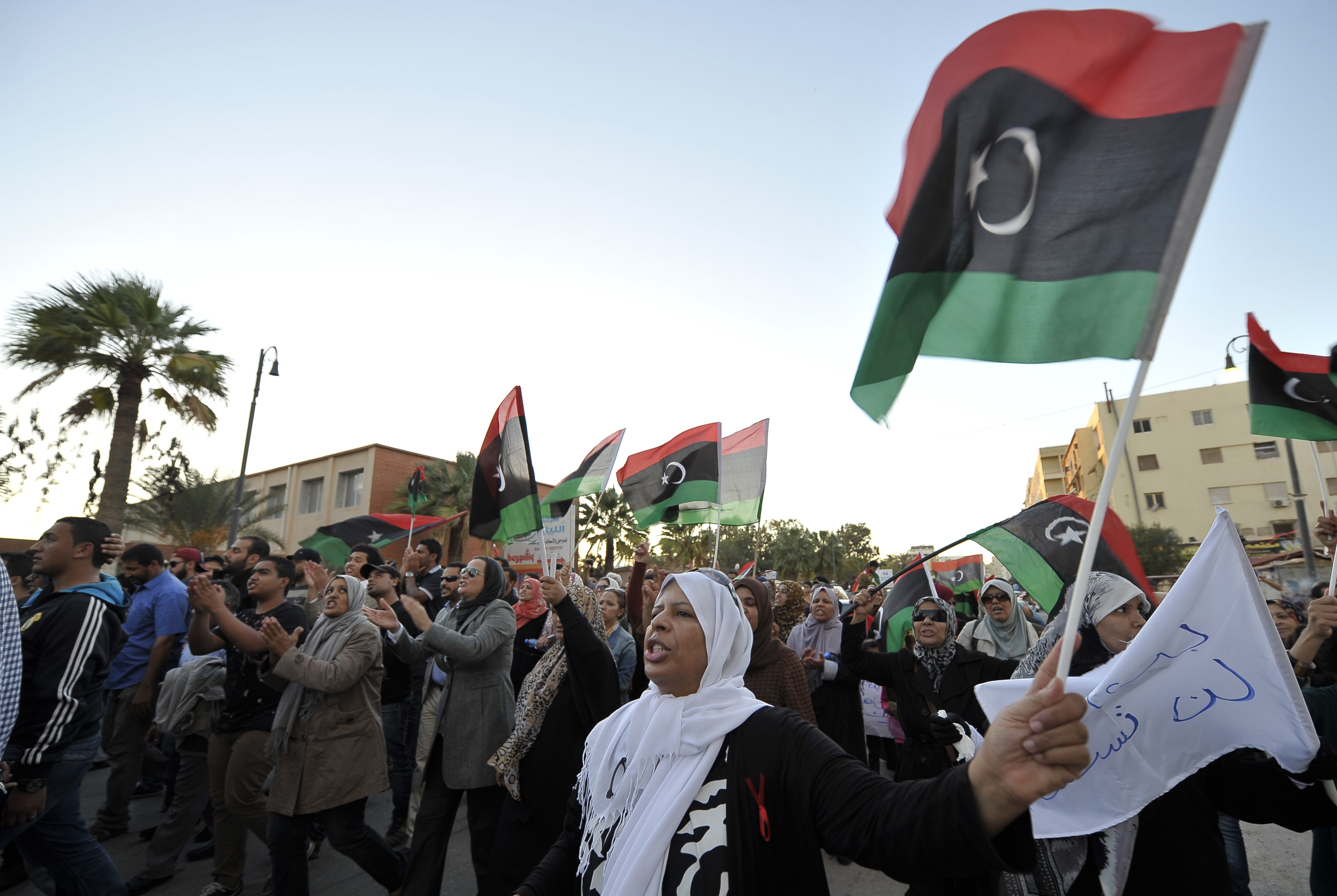 Libyans protest against the armed militias