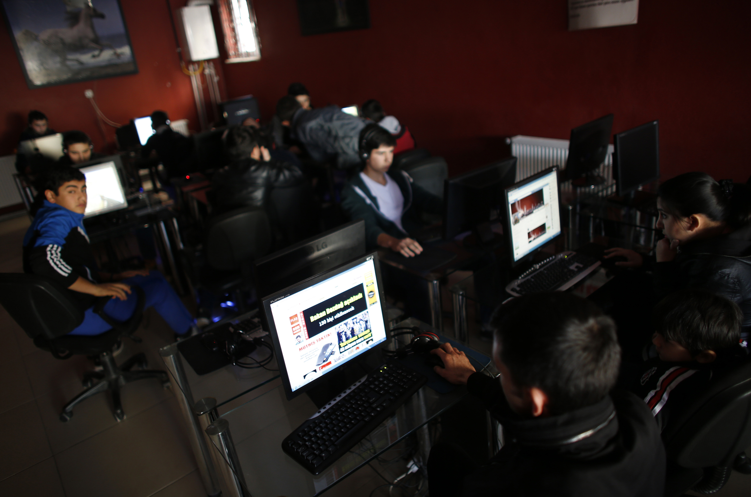 Internet cafes bustle in Ankara, where Turkey's parliament approved a crackdown on online access.