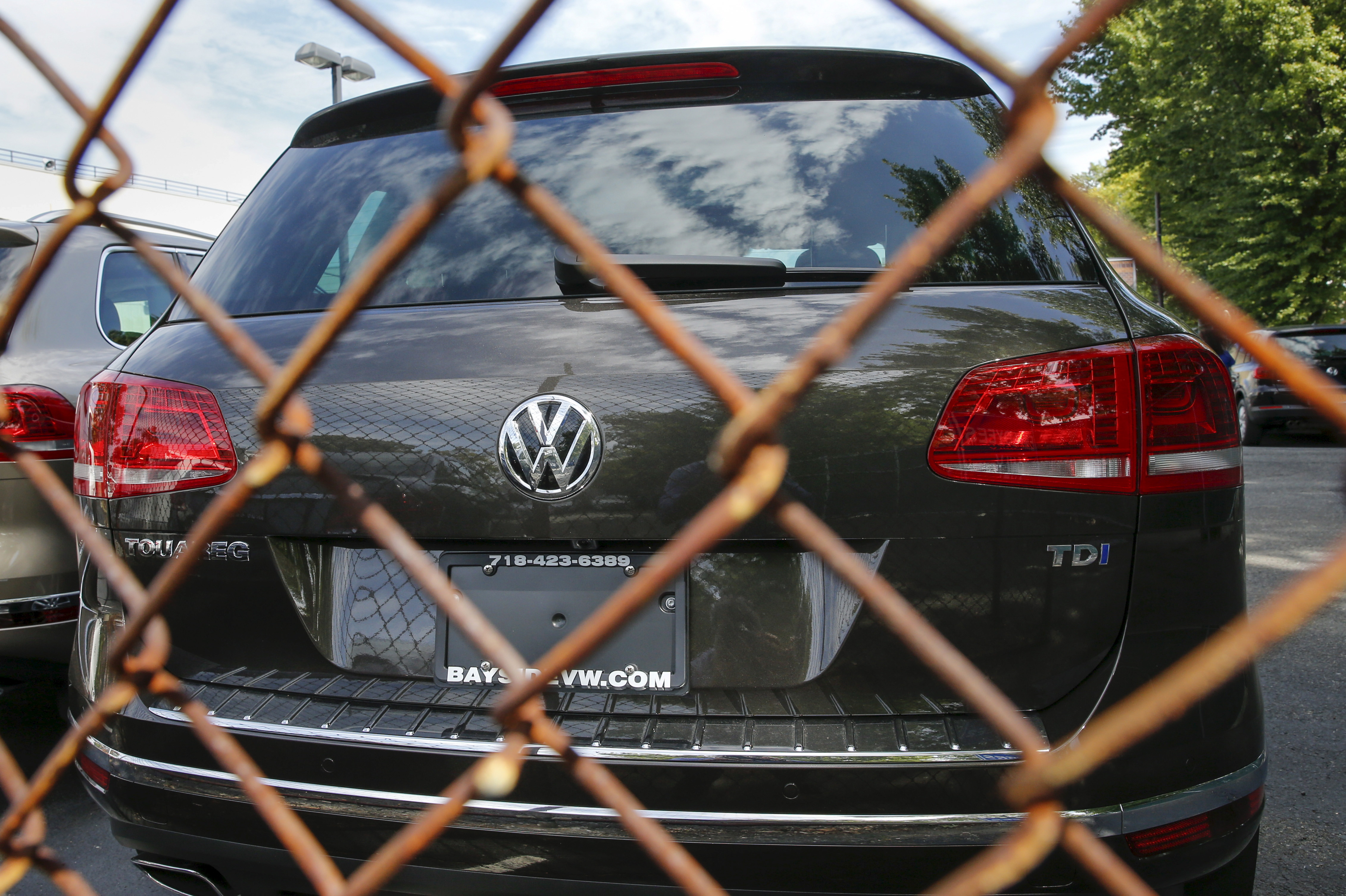 A Volkswagen 2016 Touareg TDI is seen at a VW dealership.