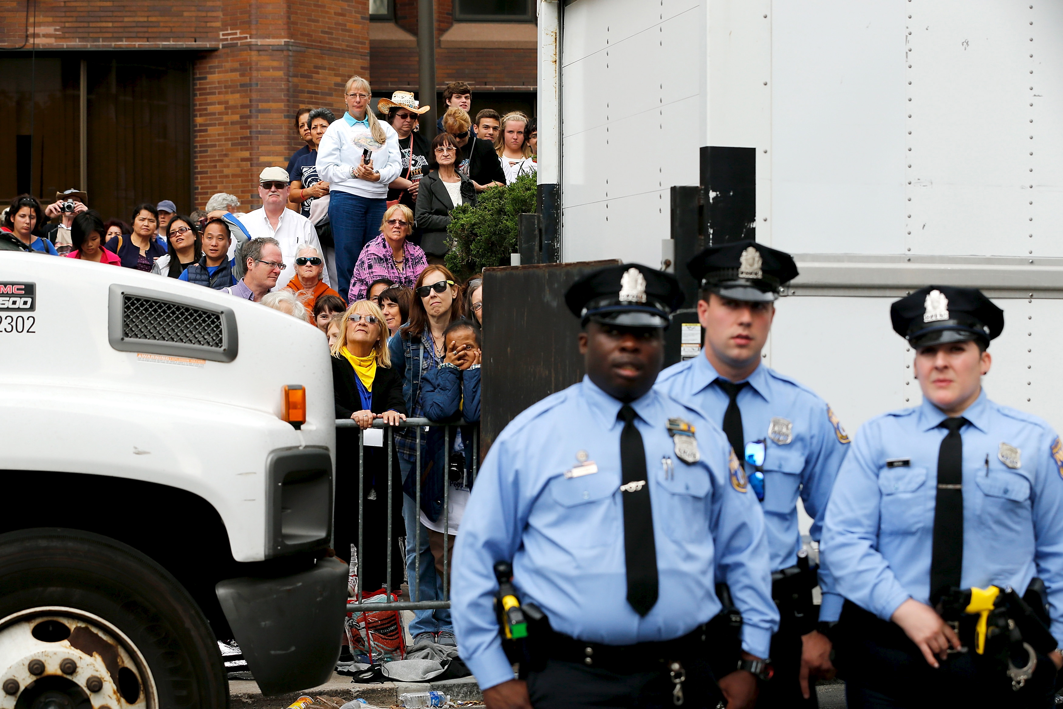 Police in front of crowd