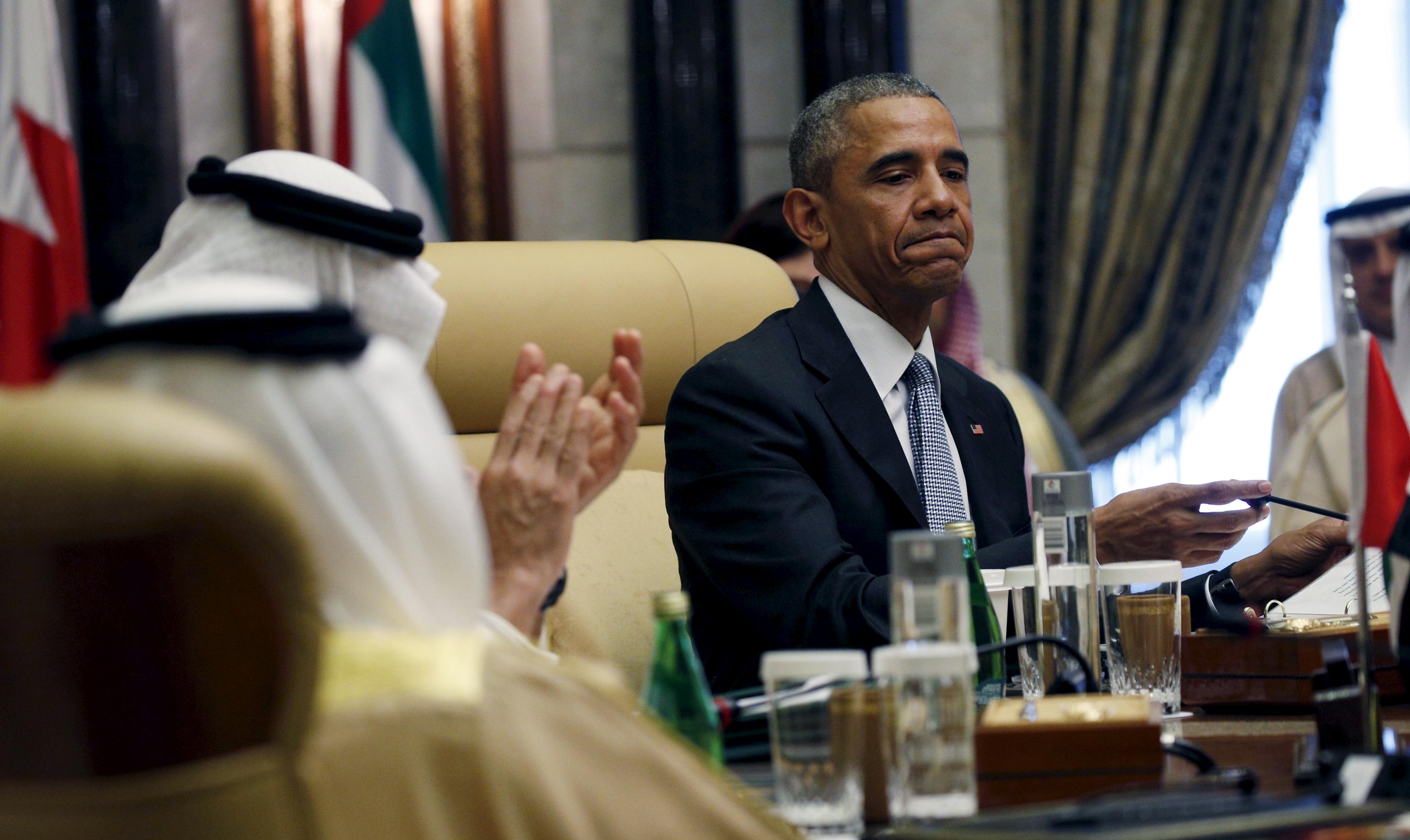 President Barack Obama at a summit of the Gulf Cooperation Council in Riyadh, Saudi Arabia.