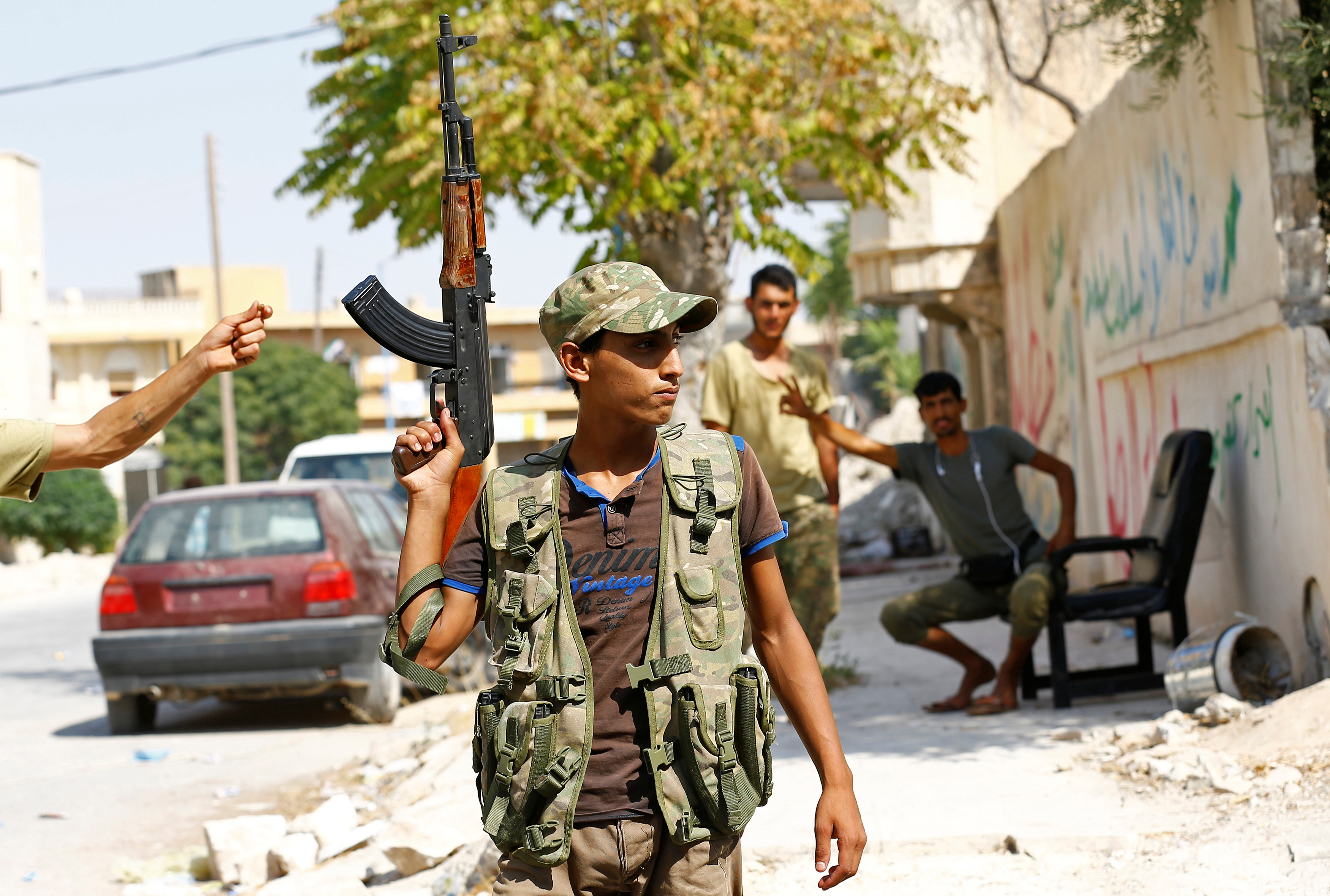 Members of the Turkish-backed Free Syrian Army in the border town of Jarablus, Syria, Aug. 31. Free Syrian Army fighters reportedly protested against the US on Friday.