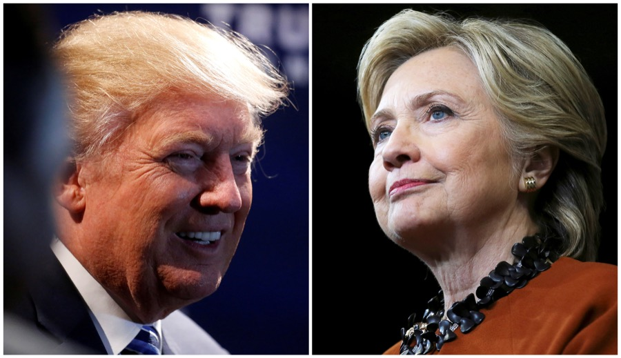 Donald Trump, at a campaign event in Charlotte, North Carolina, on Oct. 26, and Democratic candidate Hillary Clinton, during a campaign rally in Winston-Salem, North Carolina