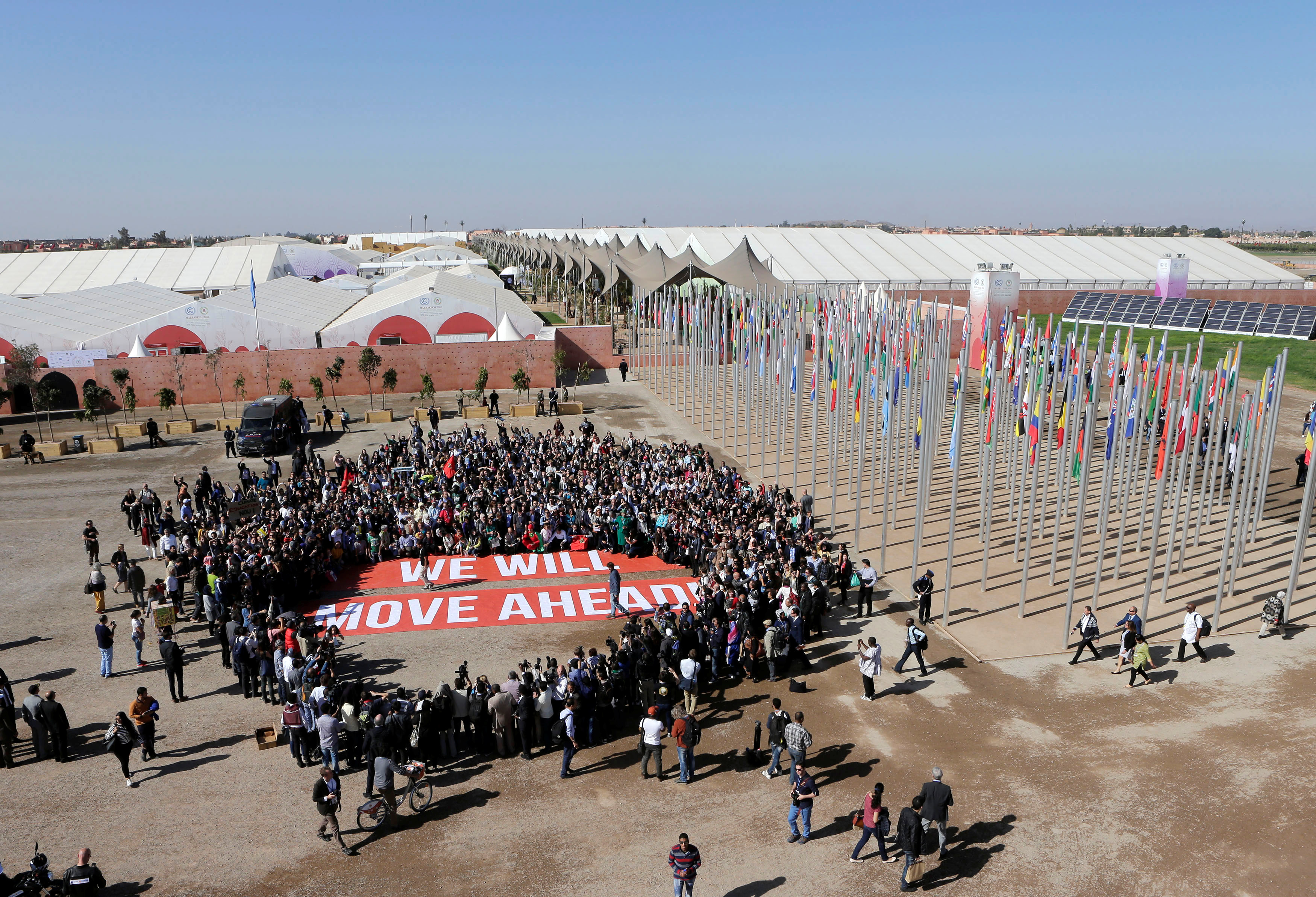 Climate activists protest outside this month's UN Climate Change Conference in Marrakech. Activists and officials are strugling to find a way forward for last year's landmark Paris Agreement on climate change after the US presidential election.