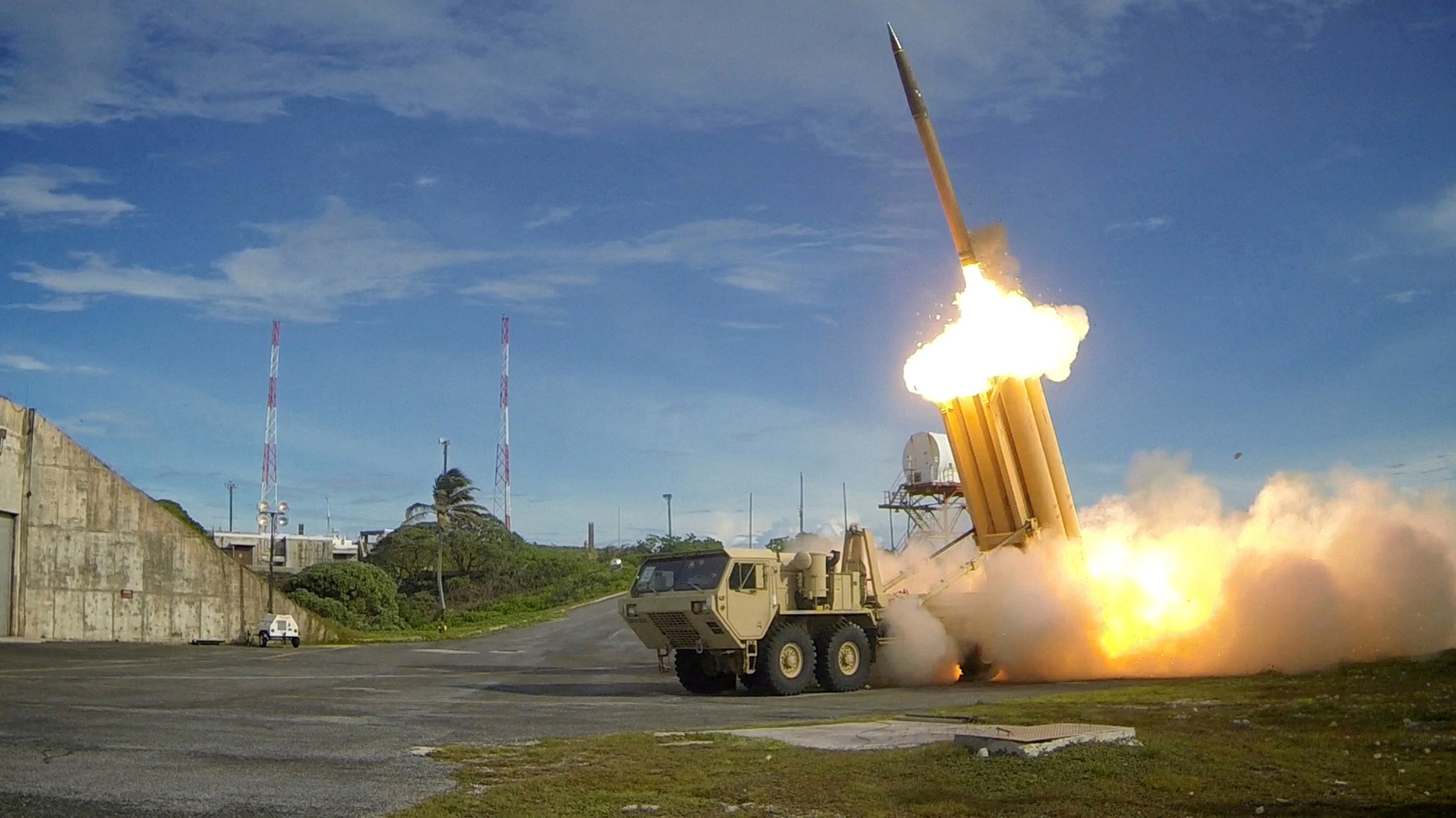It looks cool, but does it work? A Terminal High Altitude Area Defense (THAAD) interceptor is launched during a test, in this undated photo provided by the Pentagon's Missile Defense Agency.