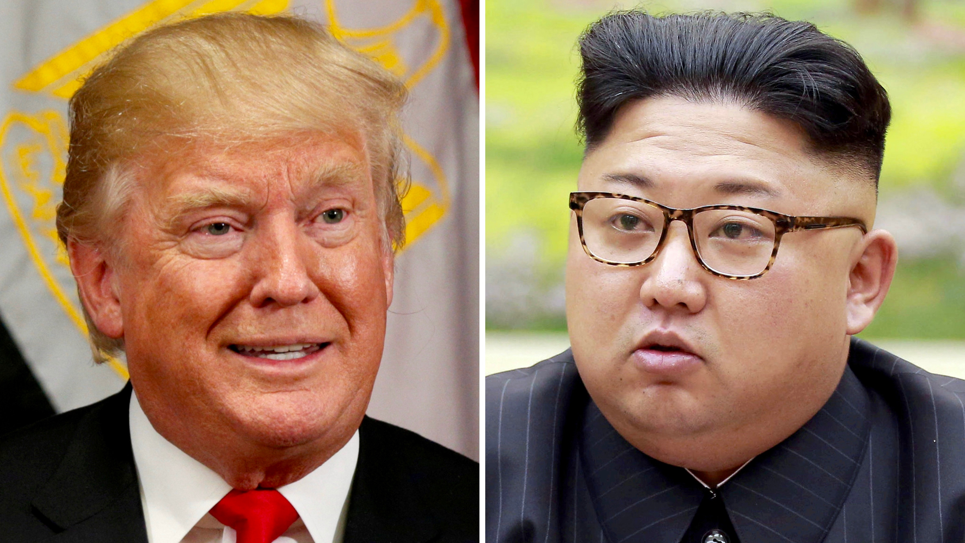 A combination photo shows US President Donald Trump in New York, Sept. 21, 2017, and North Korean leader Kim Jong-un in this undated photo released by North Korea's Korean Central News Agency in Pyongyang, Sept. 4, 2017.