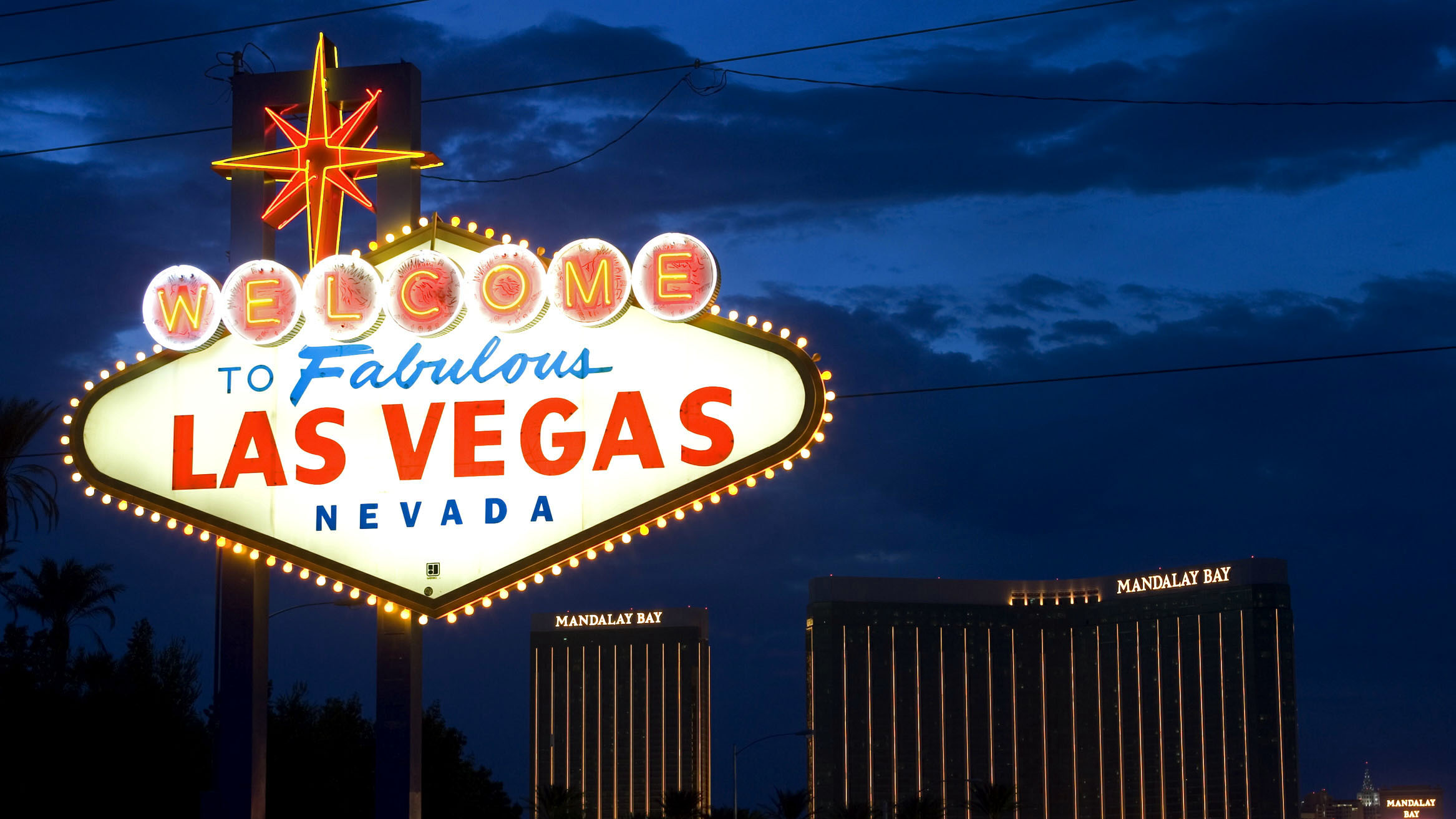 """The famous """"Welcome to Fabulous Las Vegas Nevada"""" sign on the south end of the Strip lit up on June 15, 2014. Casinos in Sin City are using big data to track customers with the goal they will keep coming back."""
