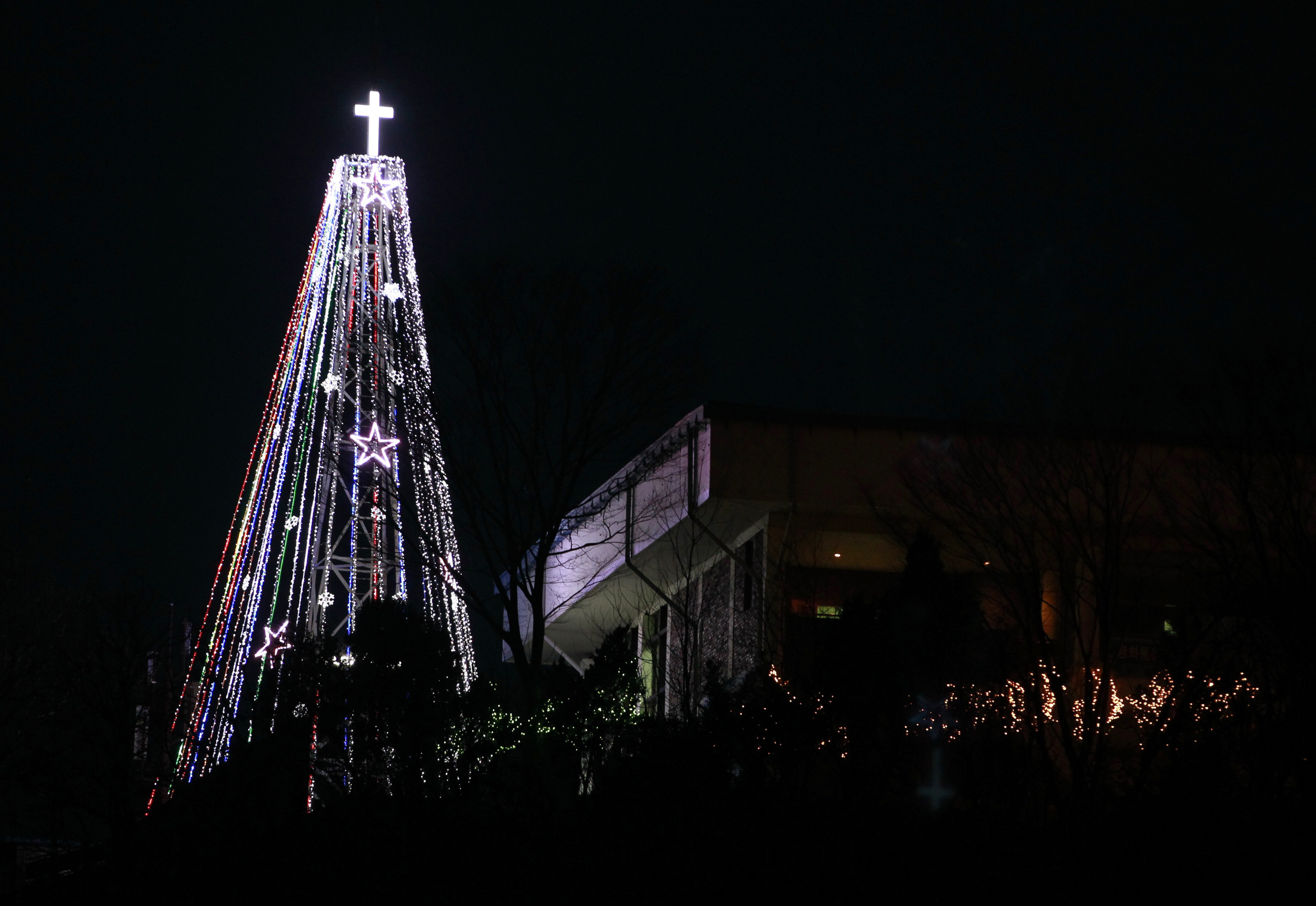 A Christmas'tree' just south of the demilitarised zone (DMZ) separating the two Koreas in Gimpo, west of Seoul as seen on December 21, 2010