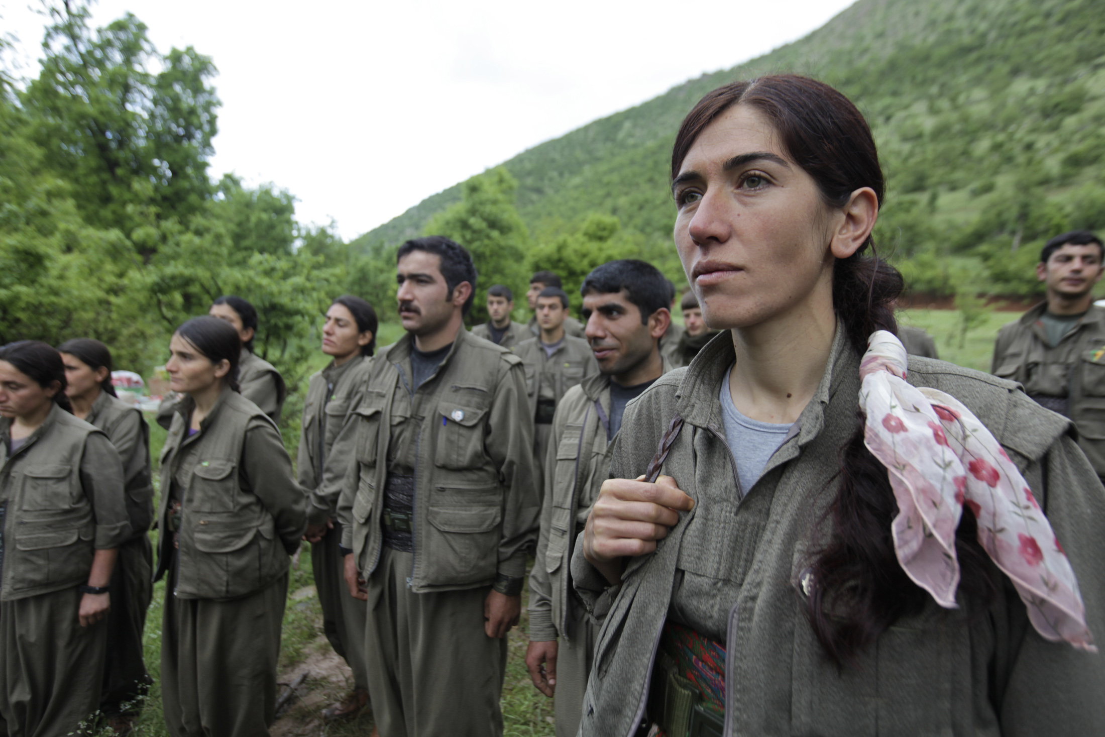 Fighters from the Kurdistan Workers Party, or PKK, stand in formation in northern Iraq on May 14, 2013.
