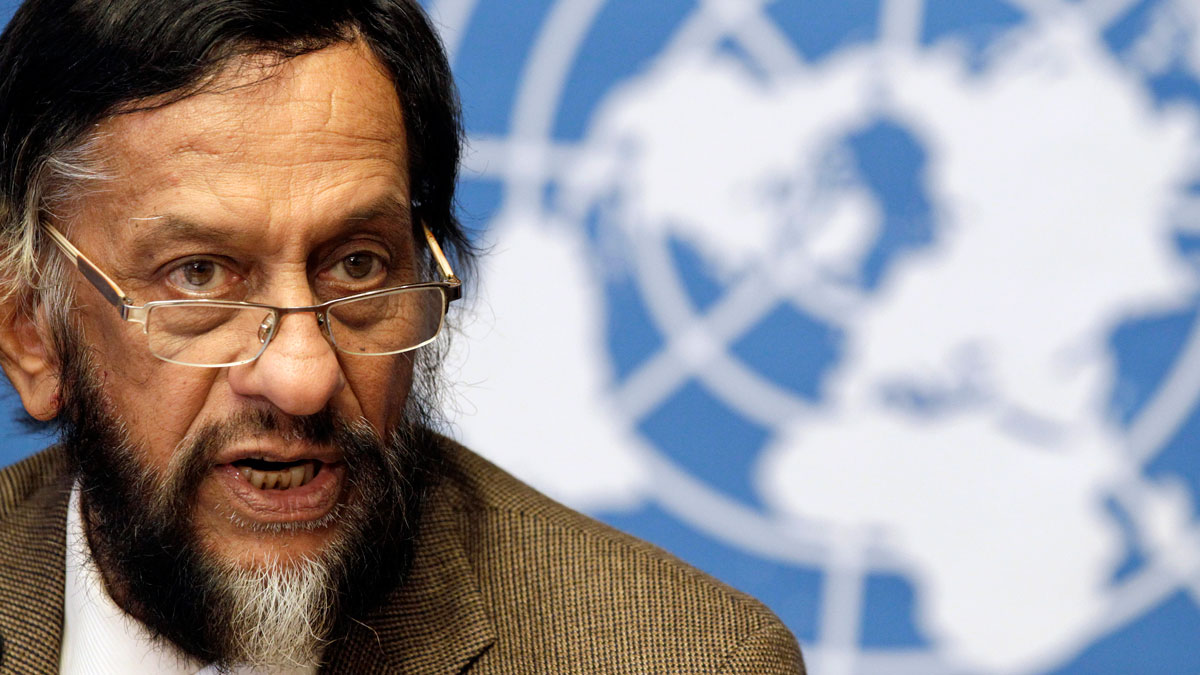 Rajendra Pachauri, then chair of the Intergovernmental Panel on Climate Change at the United Nations European headquarters, 2012.
