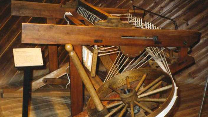 A spinning jenny: one of the machines that revolutionized manufacturing in the late 1700s.