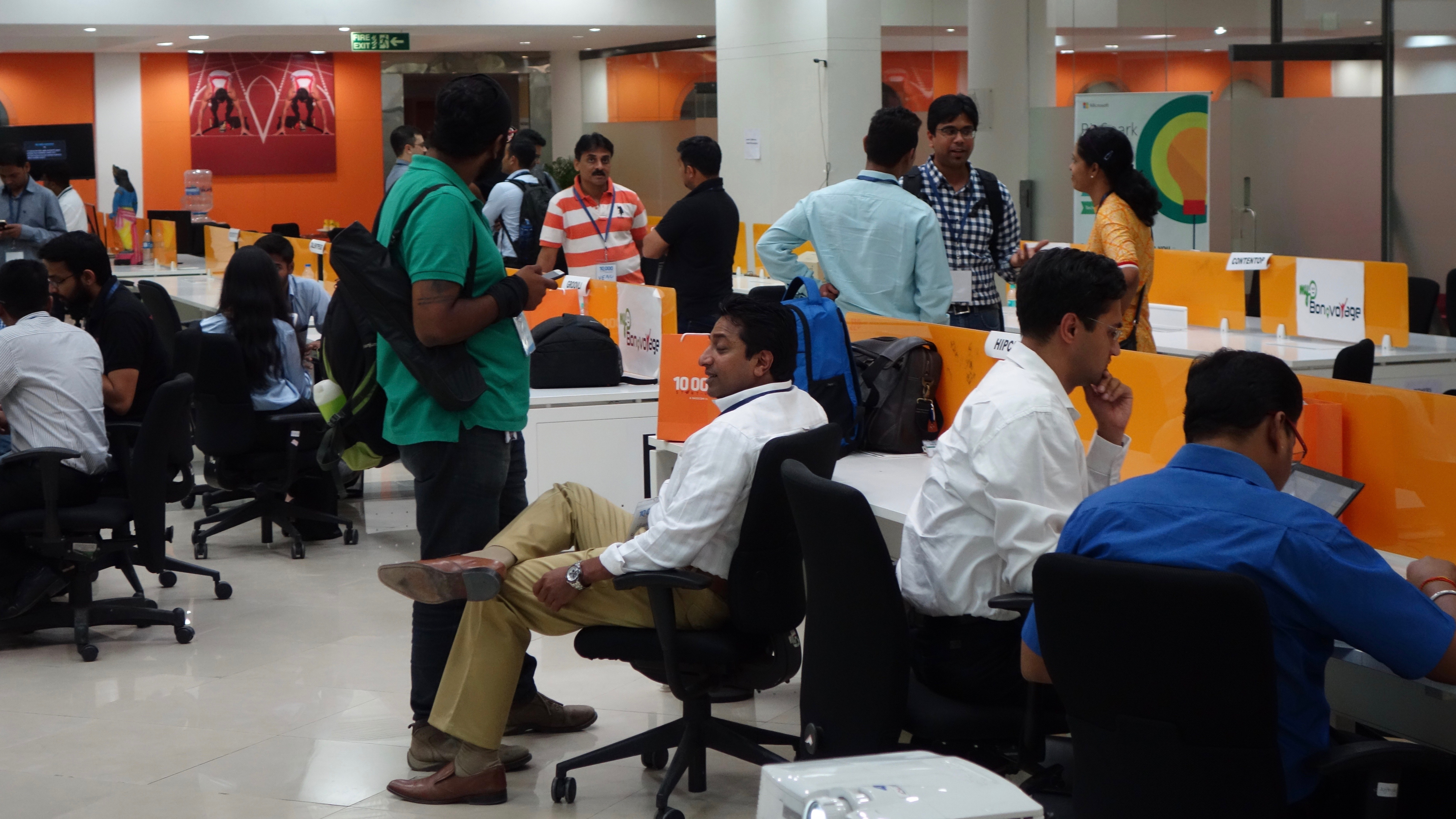 Entrepreneurs exchange ideas in Bangalore's government-funded Startup Warehouse